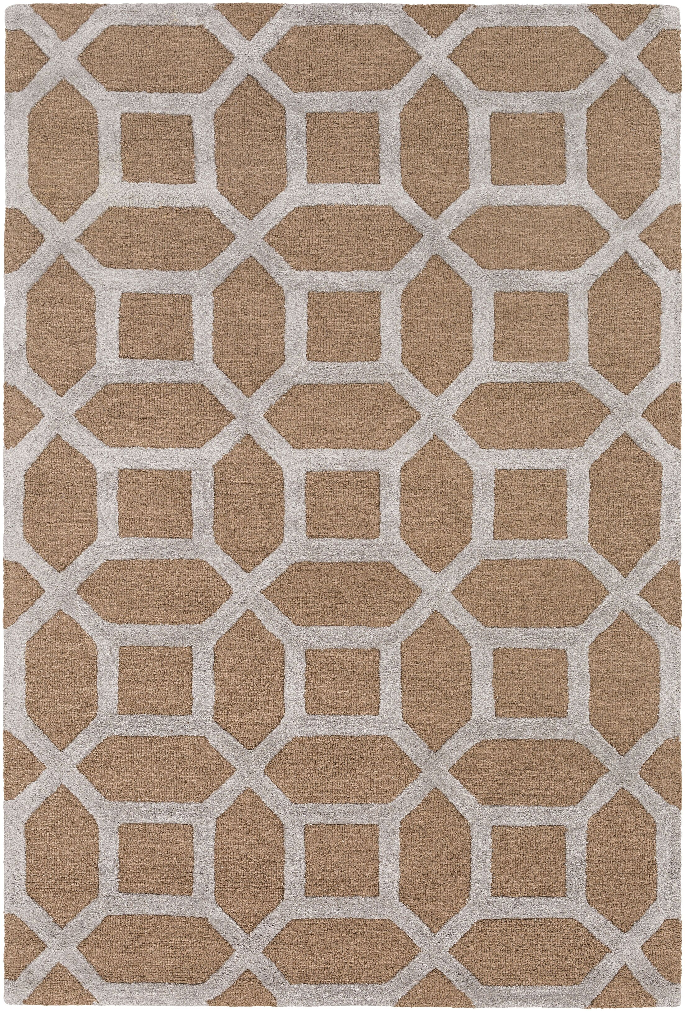 Wyble Hand-Tufted Tan Area Rug Rug Size: Rectangle 5' x 7'6