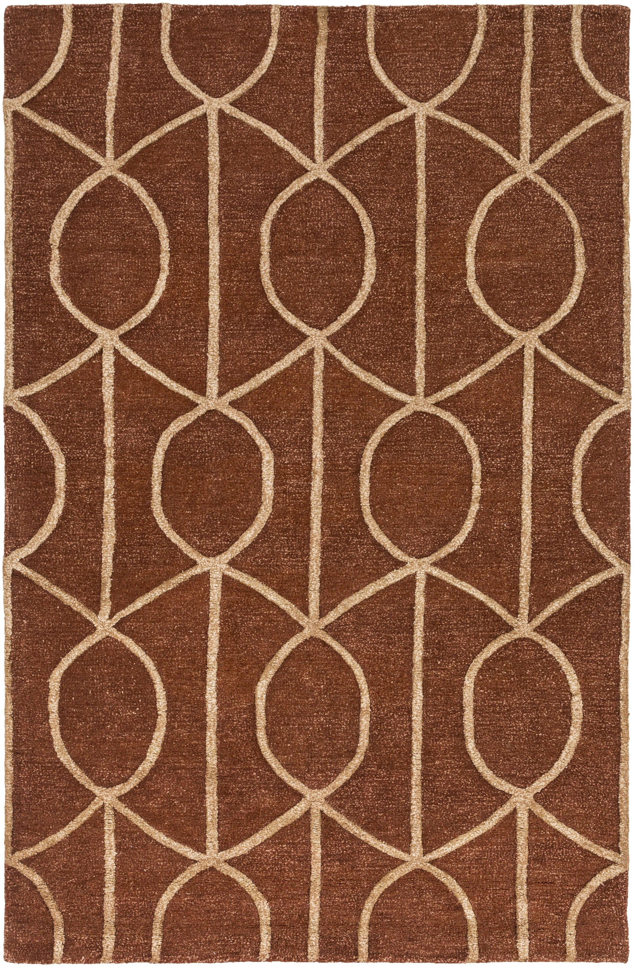 Abbey Hand-Tufted Rust Area Rug Rug Size: Rectangle 7'6