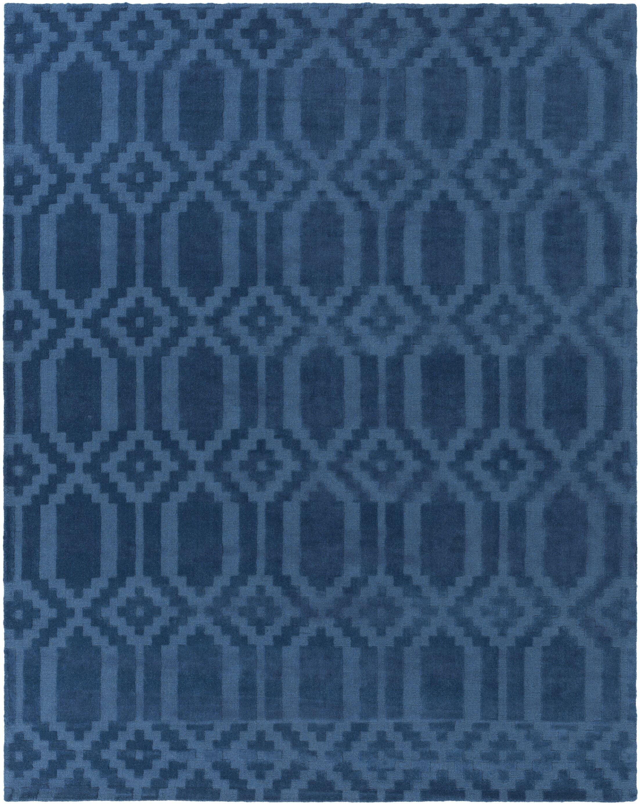 Brack Hand-Loomed Blue Area Rug Rug Size: Rectangle 10' x 14'