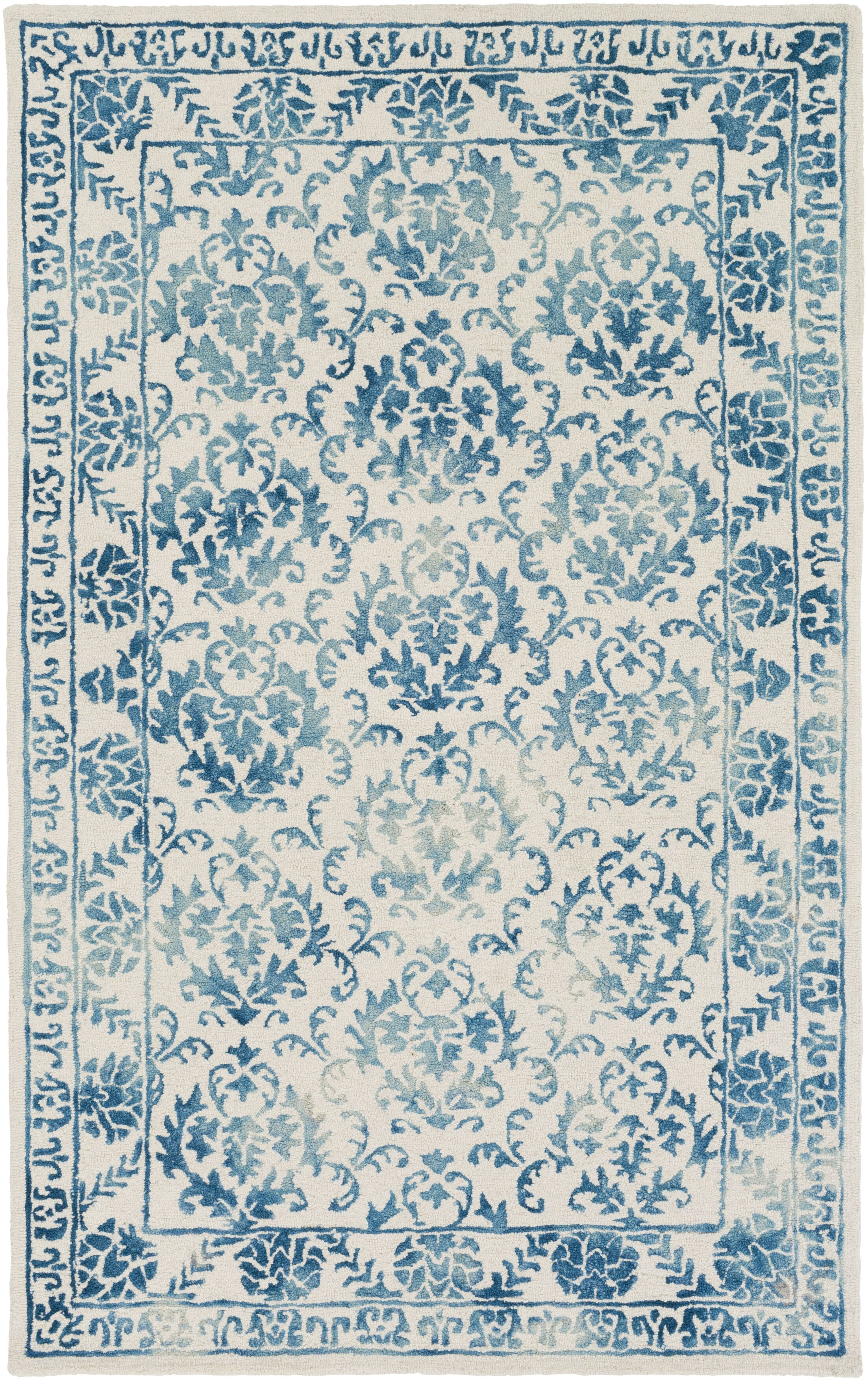Kiernan Hand Tufted Teal/Off-White Area Rug Rug Size: Rectangle 8' x 10'