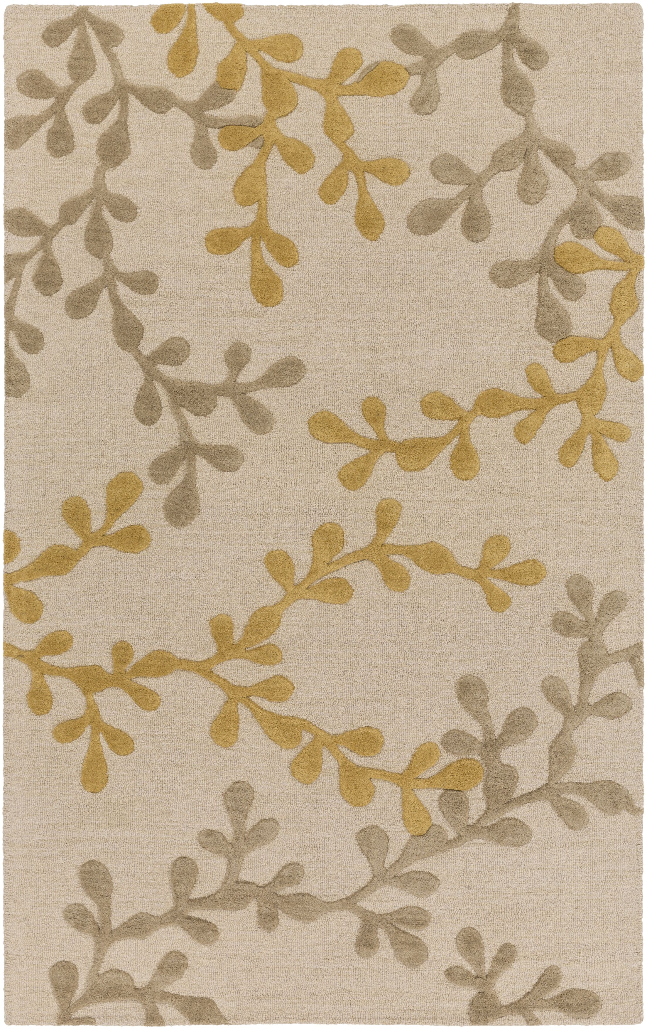 Coutu Hand-Tufted Beige/Gold Area Rug Rug Size: Rectangle 5' x 8'
