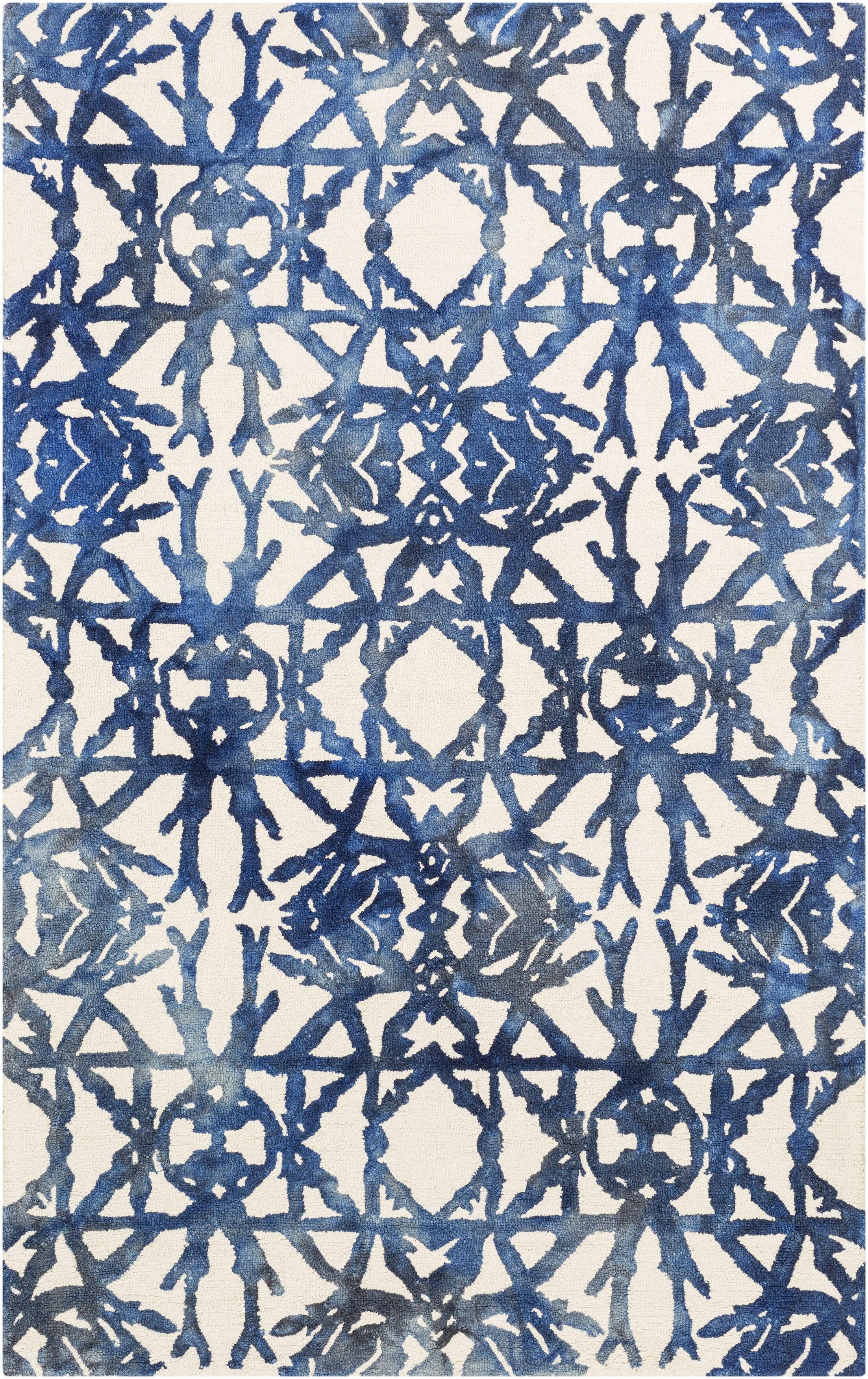 Glenmoor Hand-Tufted Navy/Off-White Area Rug Rug Size: Rectangle 8' x 10'