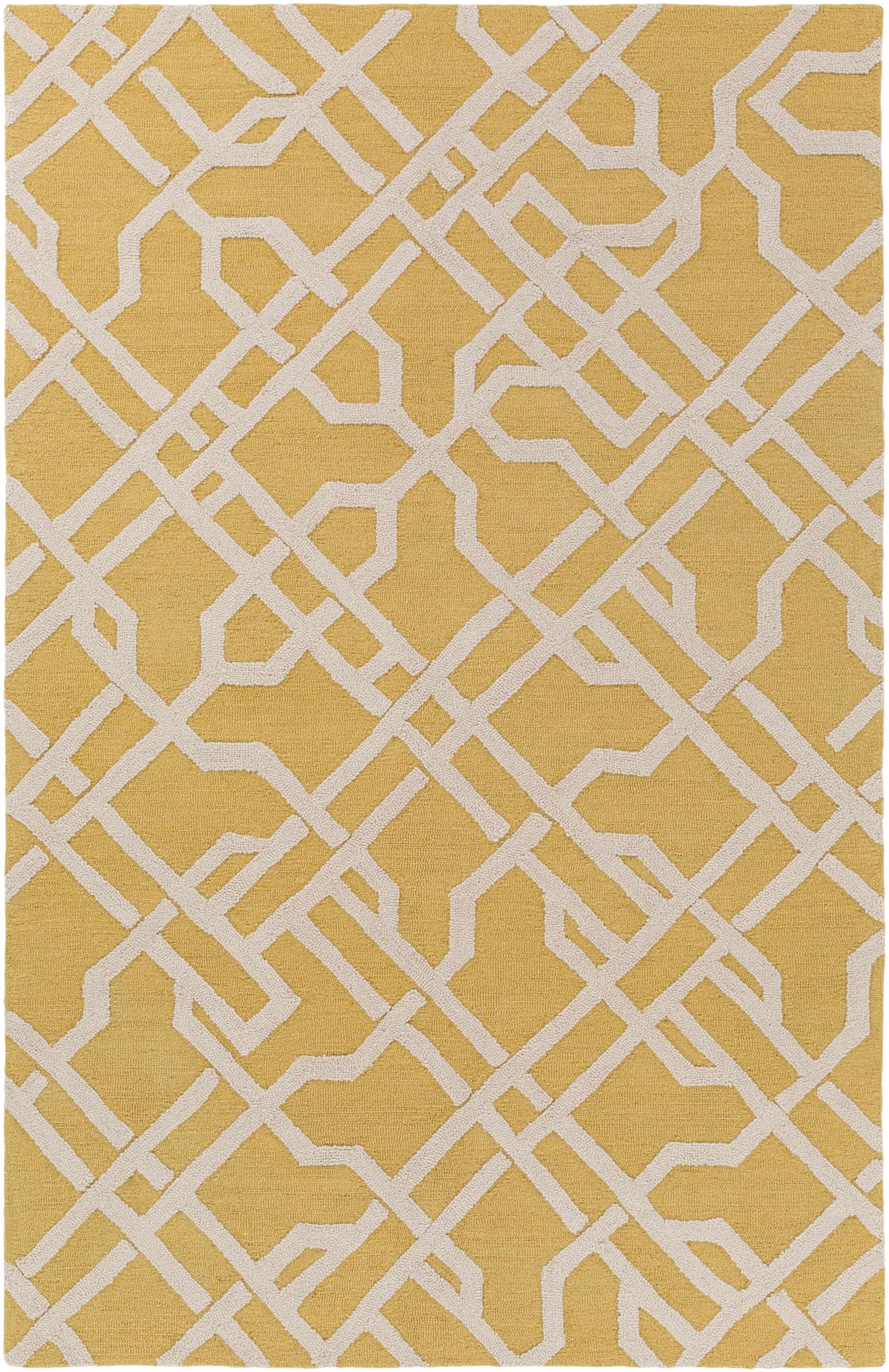 Daigle Hand-Crafted Yellow/Off-White Area Rug Rug Size: Rectangle 7'6