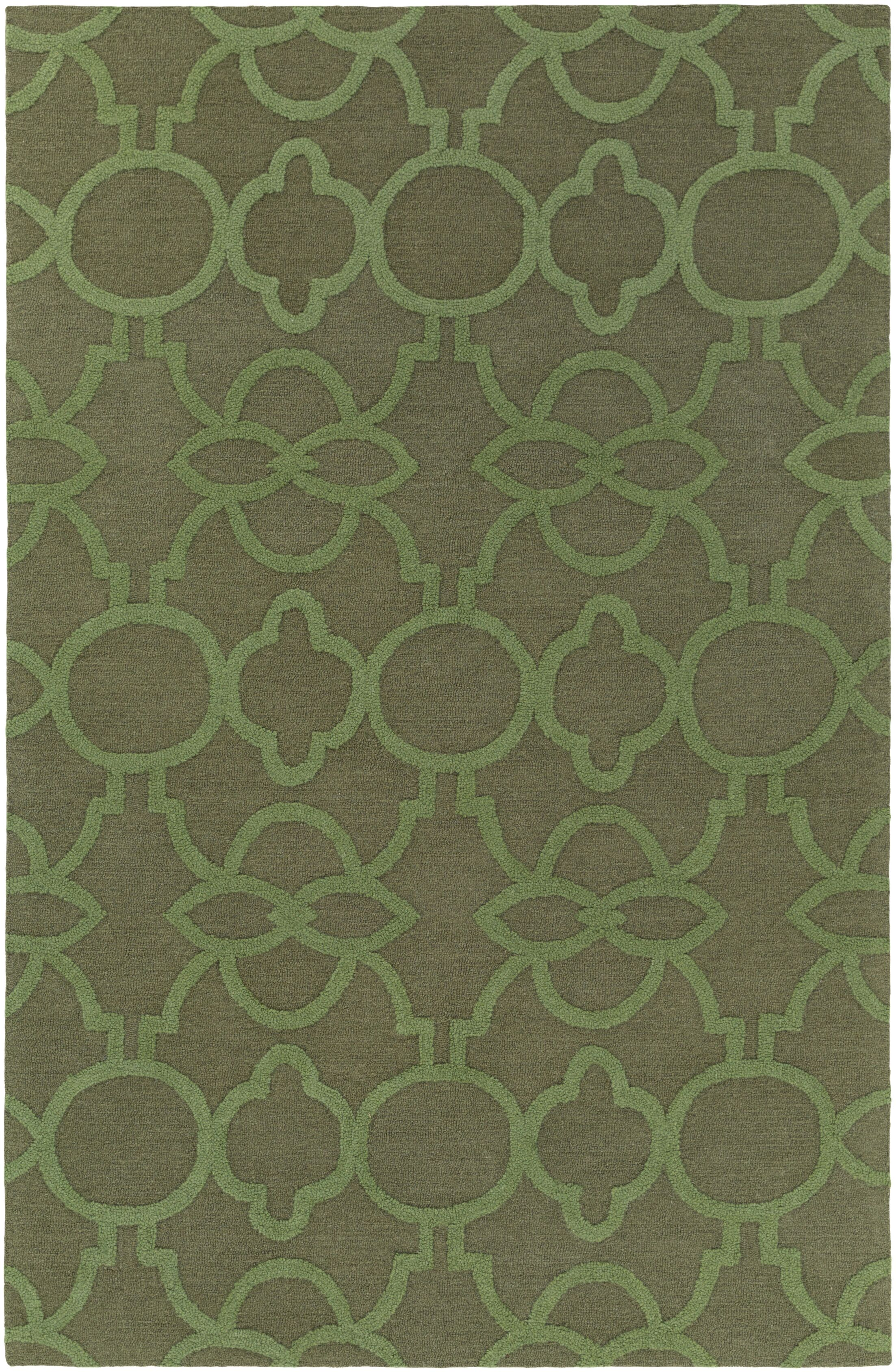 Sandi Hand-Crafted Olive Green Area Rug Rug Size: Rectangle 7'6