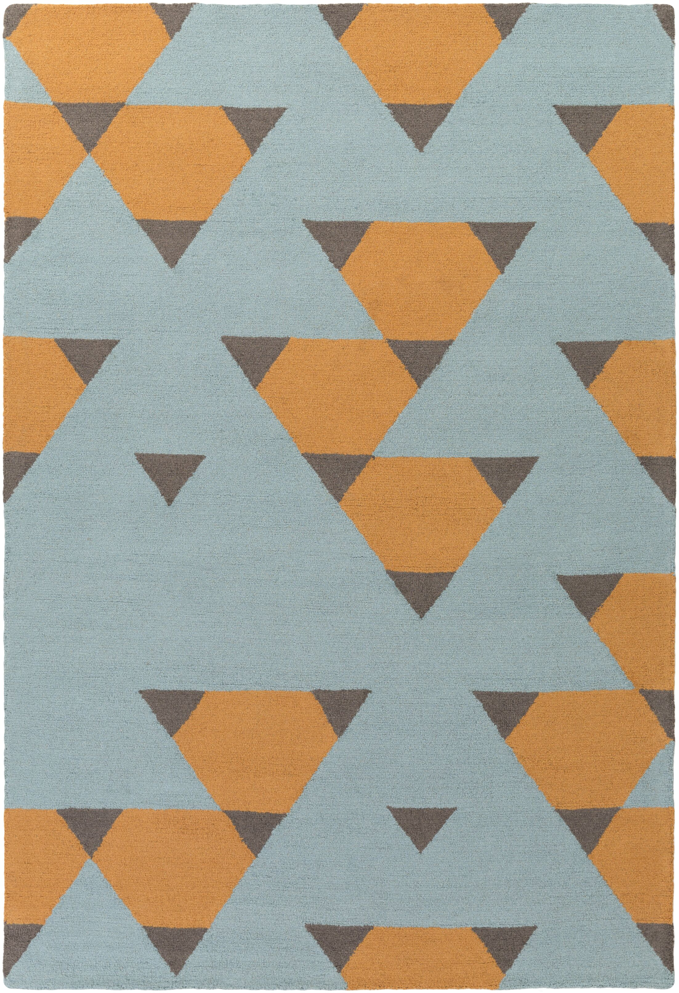 Youngquist Hand-Crafted Orange, Aqua/Gray Area Rug Rug Size: Rectangle 8' x 11'