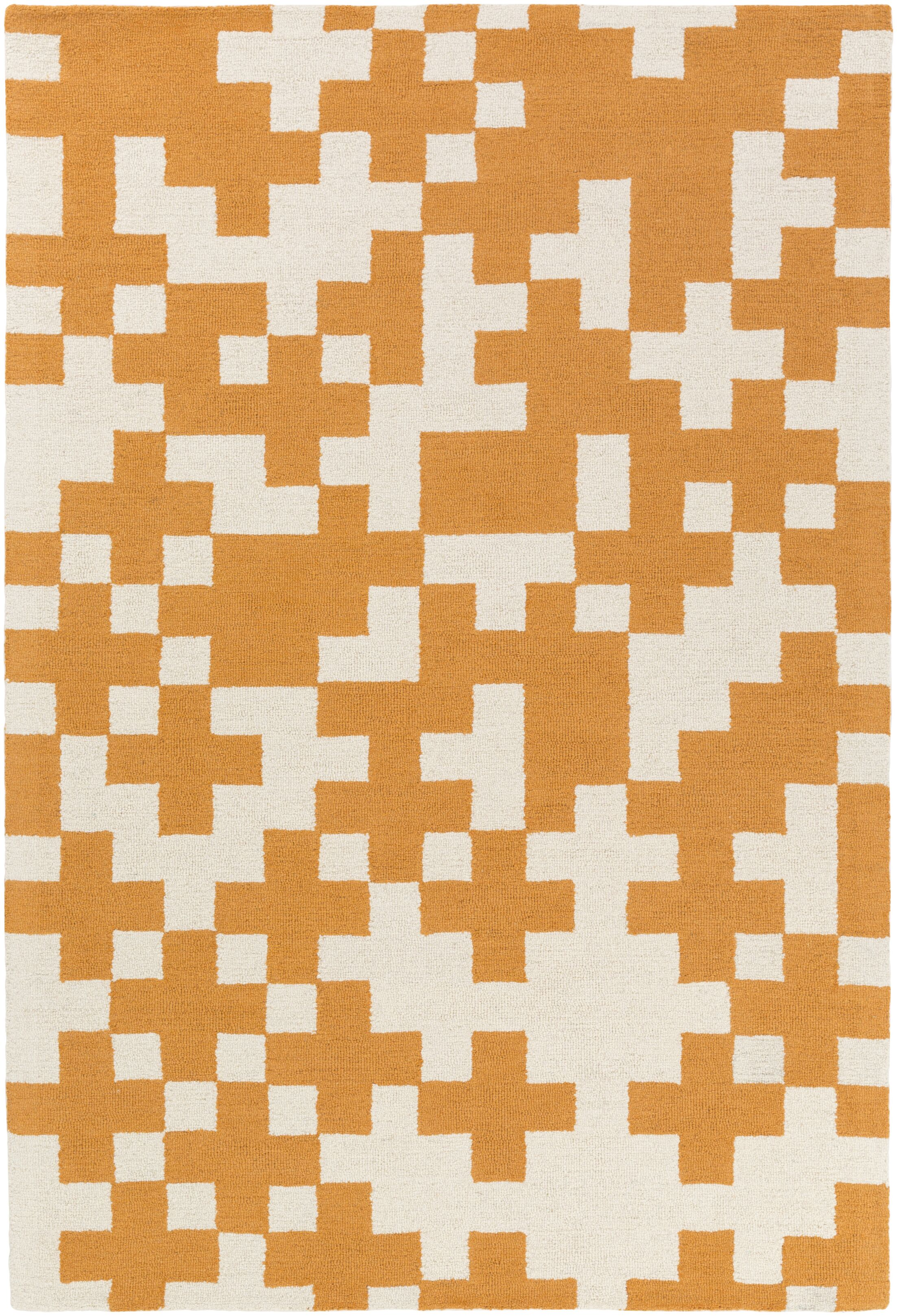 Youngman Hand-Crafted Orange/White Area Rug Rug Size: Runner 2'3