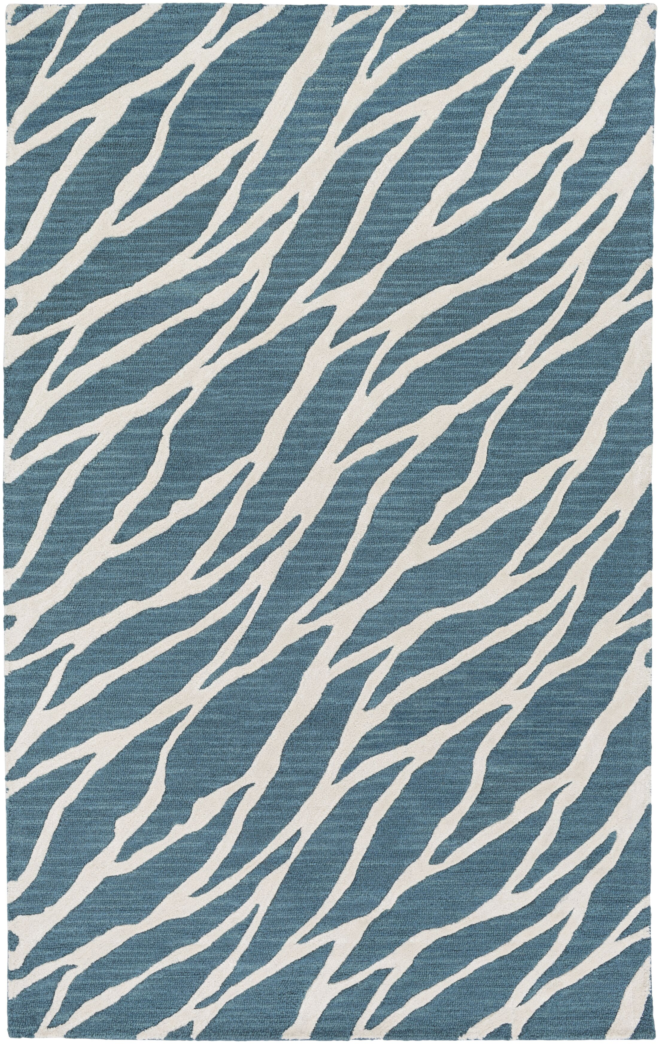 Blewett Hand-Tufted Blue/Ivory Area Rug Rug Size: Rectangle 8' x 10'