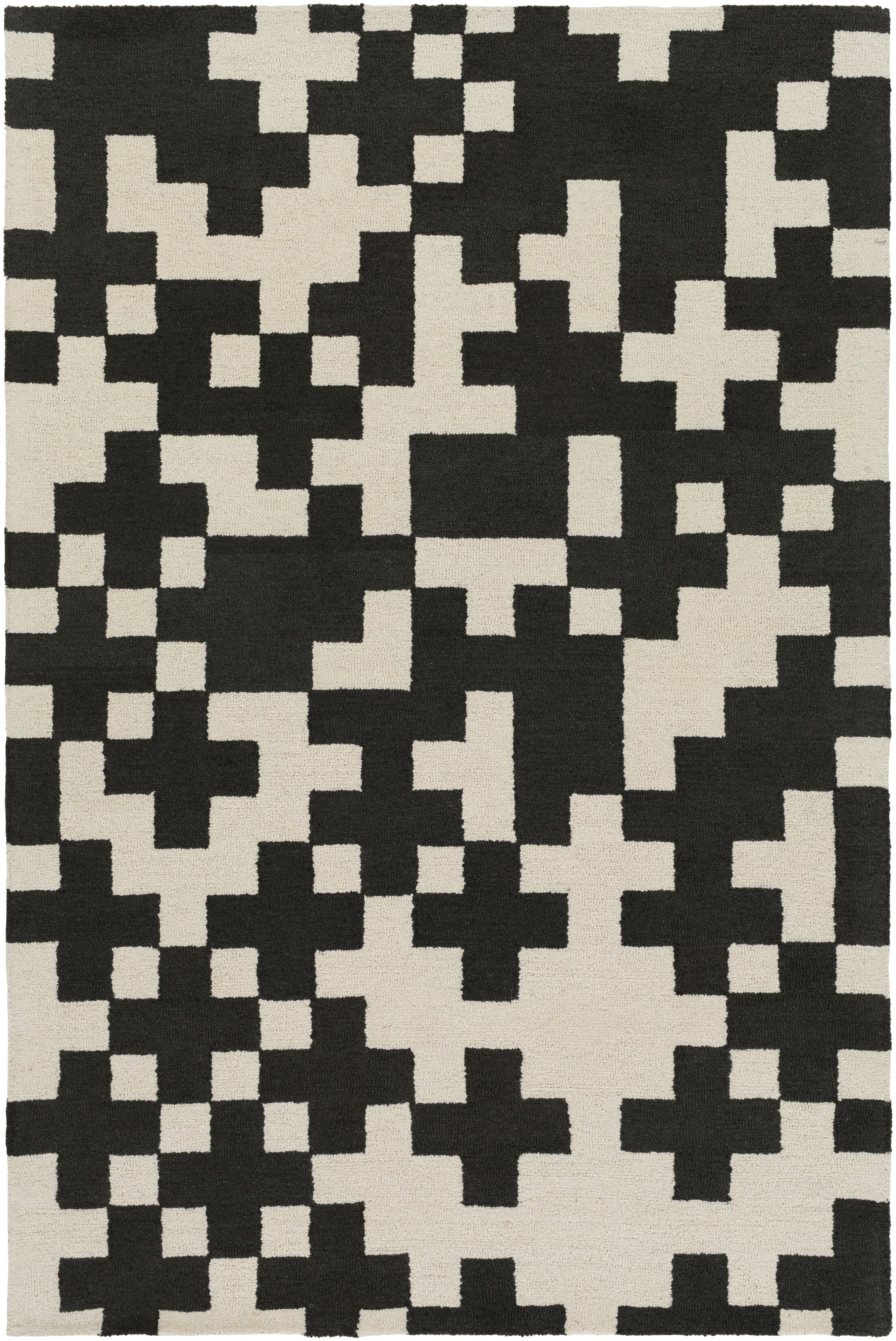 Youngman Hand-Crafted Black/Cream Area Rug Rug Size: Rectangle 8' x 11'