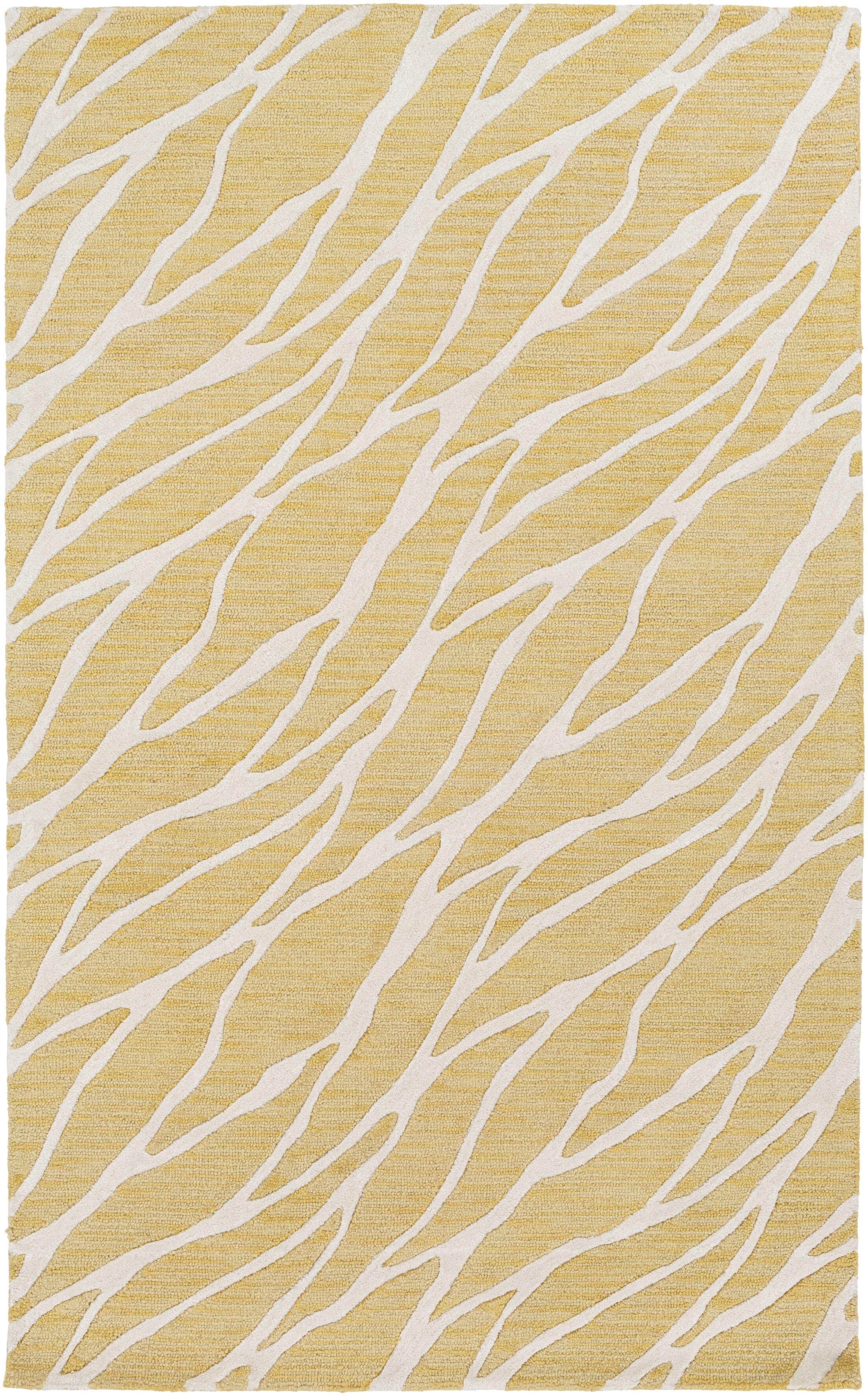 Blewett Hand-Tufted Gold/Ivory Area Rug Rug Size: Rectangle 8' x 10'
