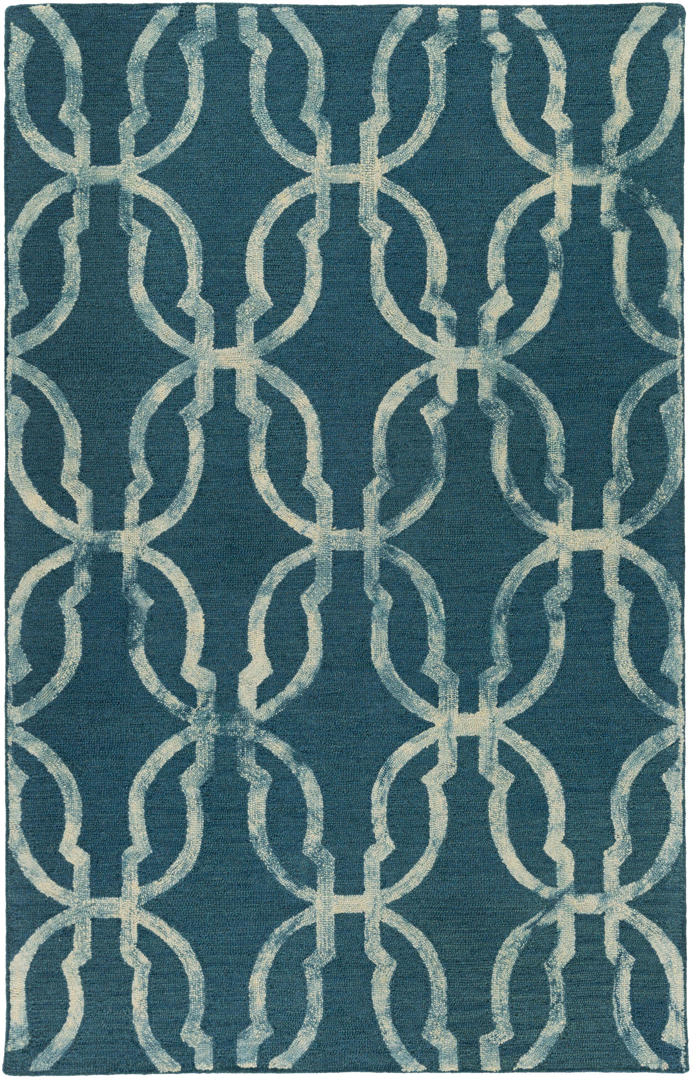 Glennon Hand-Tufted Teal/Beige Area Rug Rug Size: Rectangle 9' x 13'
