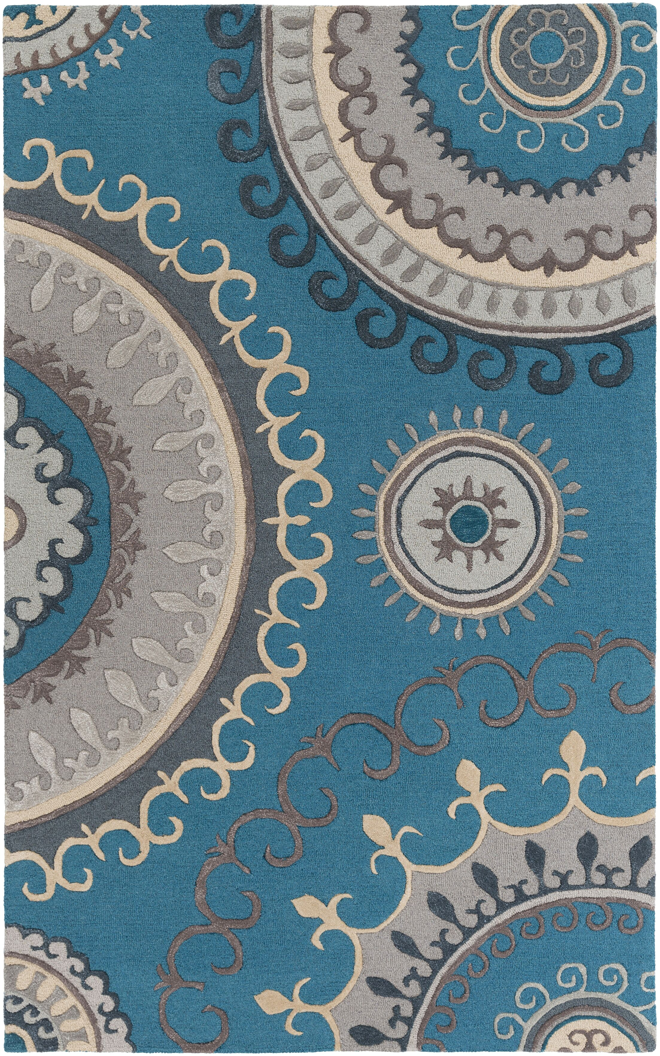 Costanzo Hand-Tufted Teal/Gray Area Rug Rug Size: Rectangle 5' x 8'