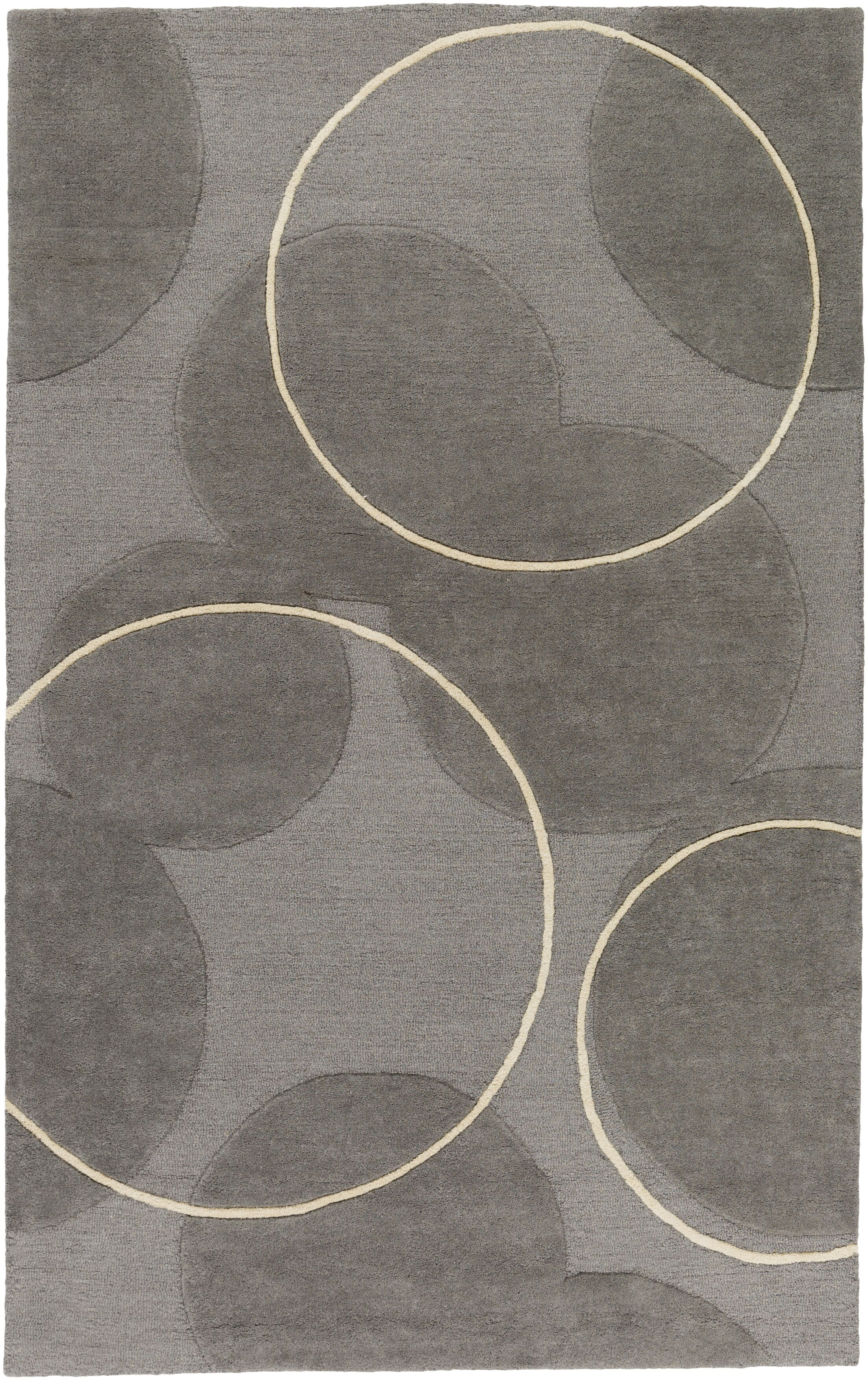 Labarbera Hand-Tufted Gray/Ivory Area Rug Rug Size: Rectangle 5' x 8'