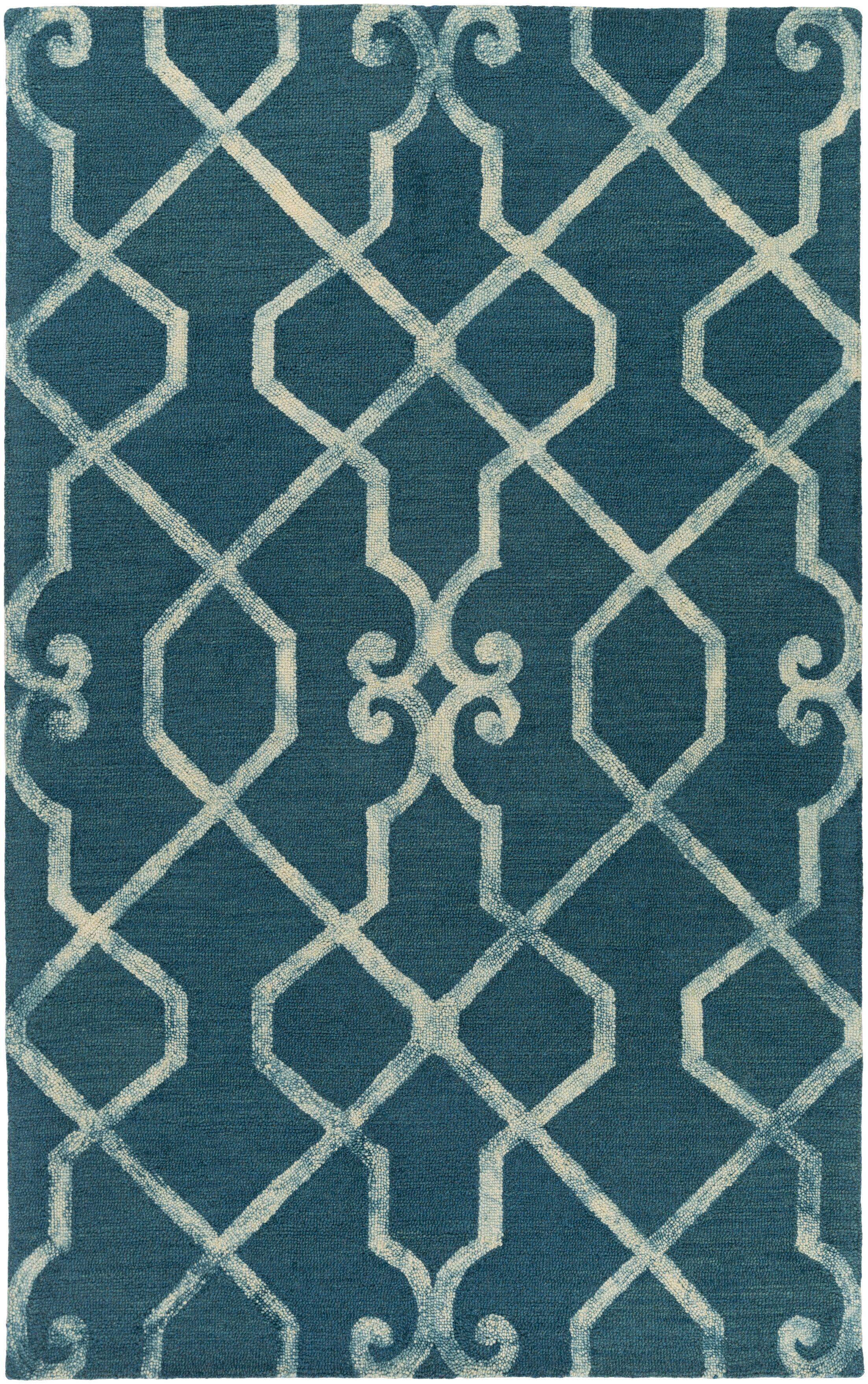 Sandhill Hand-Tufted Teal/Ivory Area Rug Rug Size: Rectangle 9' x 13'