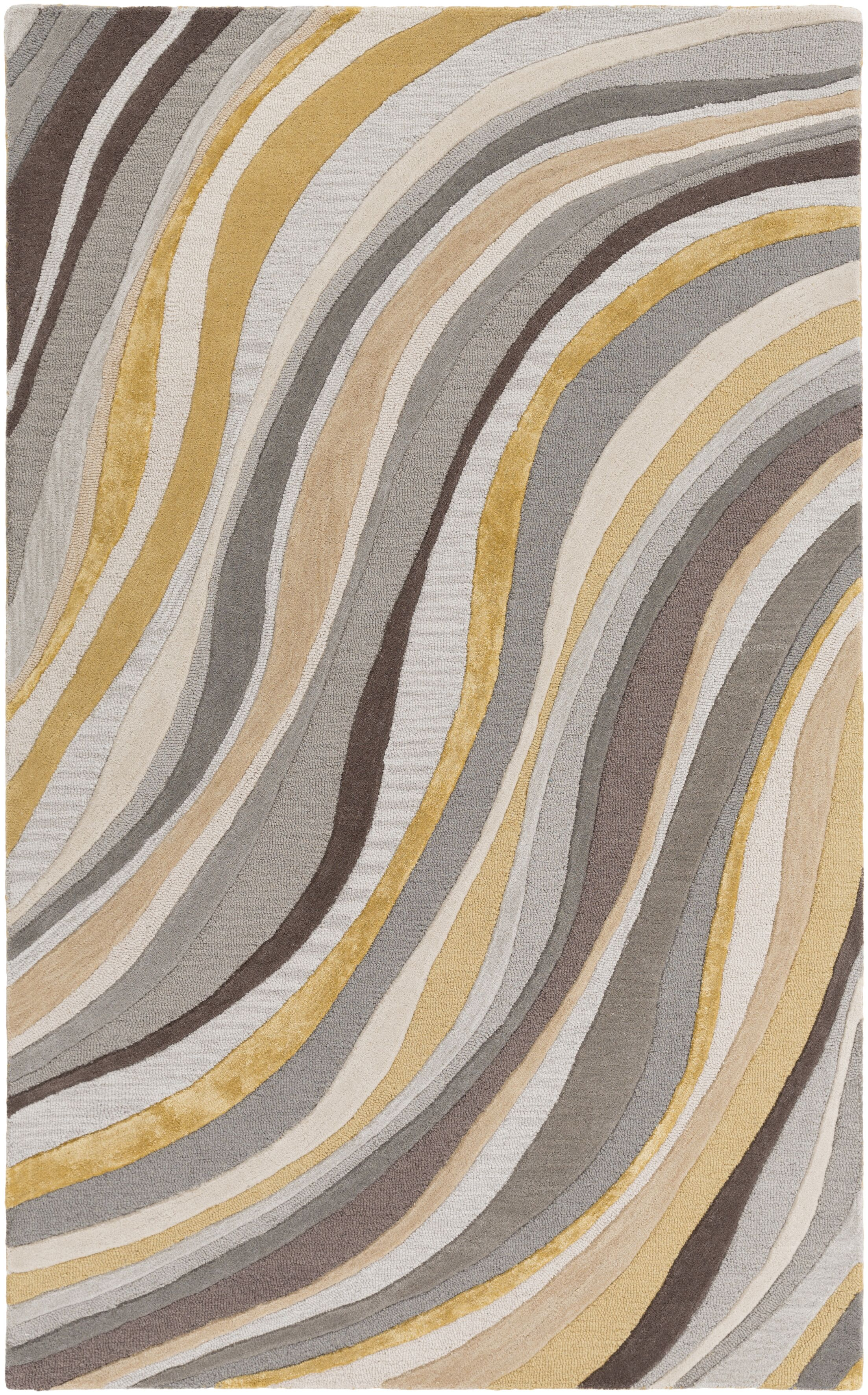 Pena Hand-Tufted Gray/Gold Area Rug Rug Size: Runner 2' x 8'