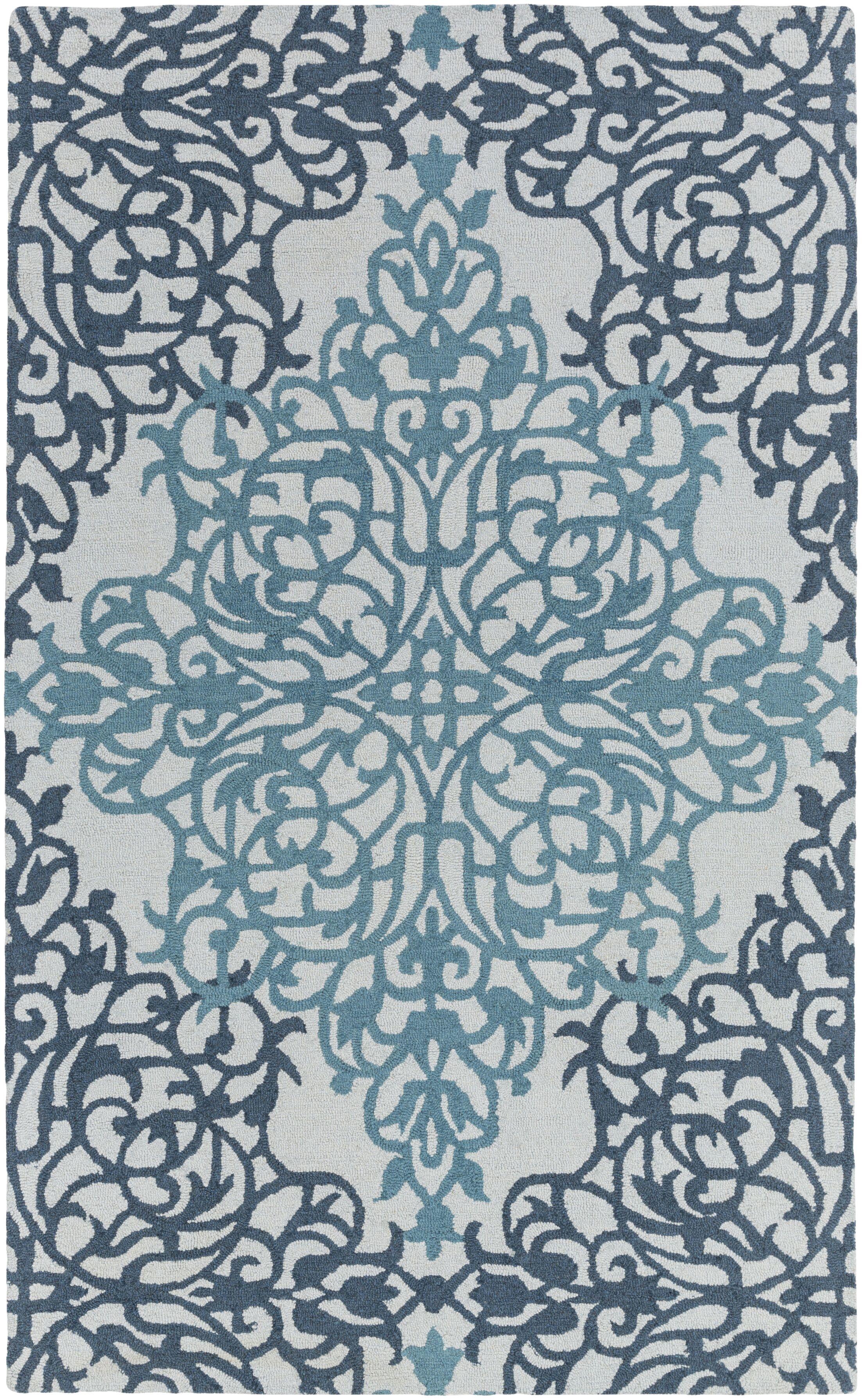 Kerner Hand-Tufted Teal/Light Blue Area Rug Rug Size: Rectangle 9' x 13'