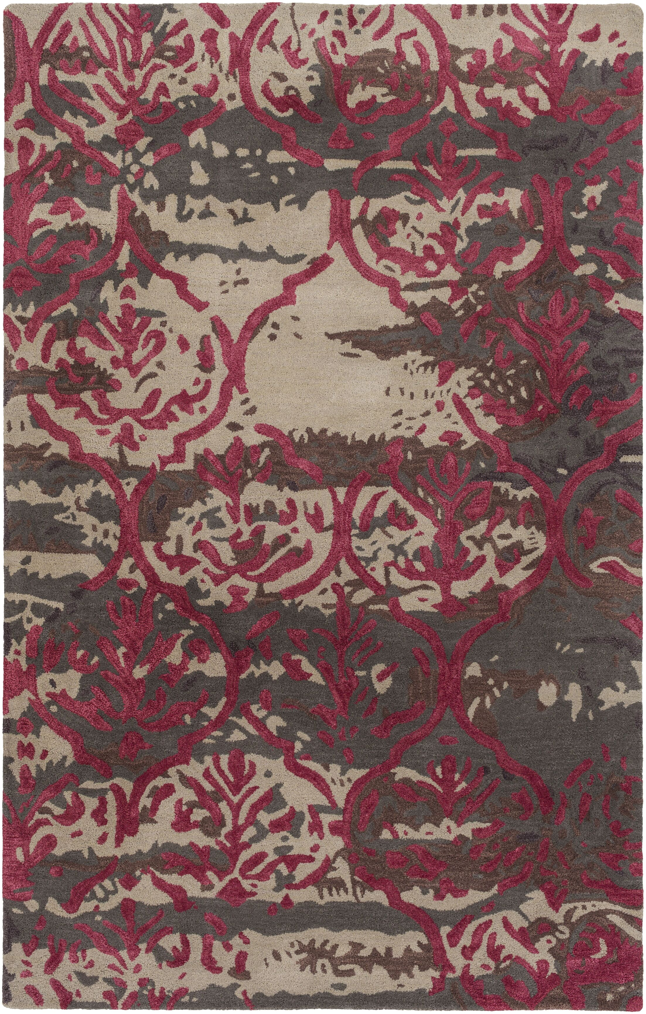 Dilorenzo Hand-Tufted Brown/Burgundy Area Rug Rug Size: Rectangle 9' x 13'
