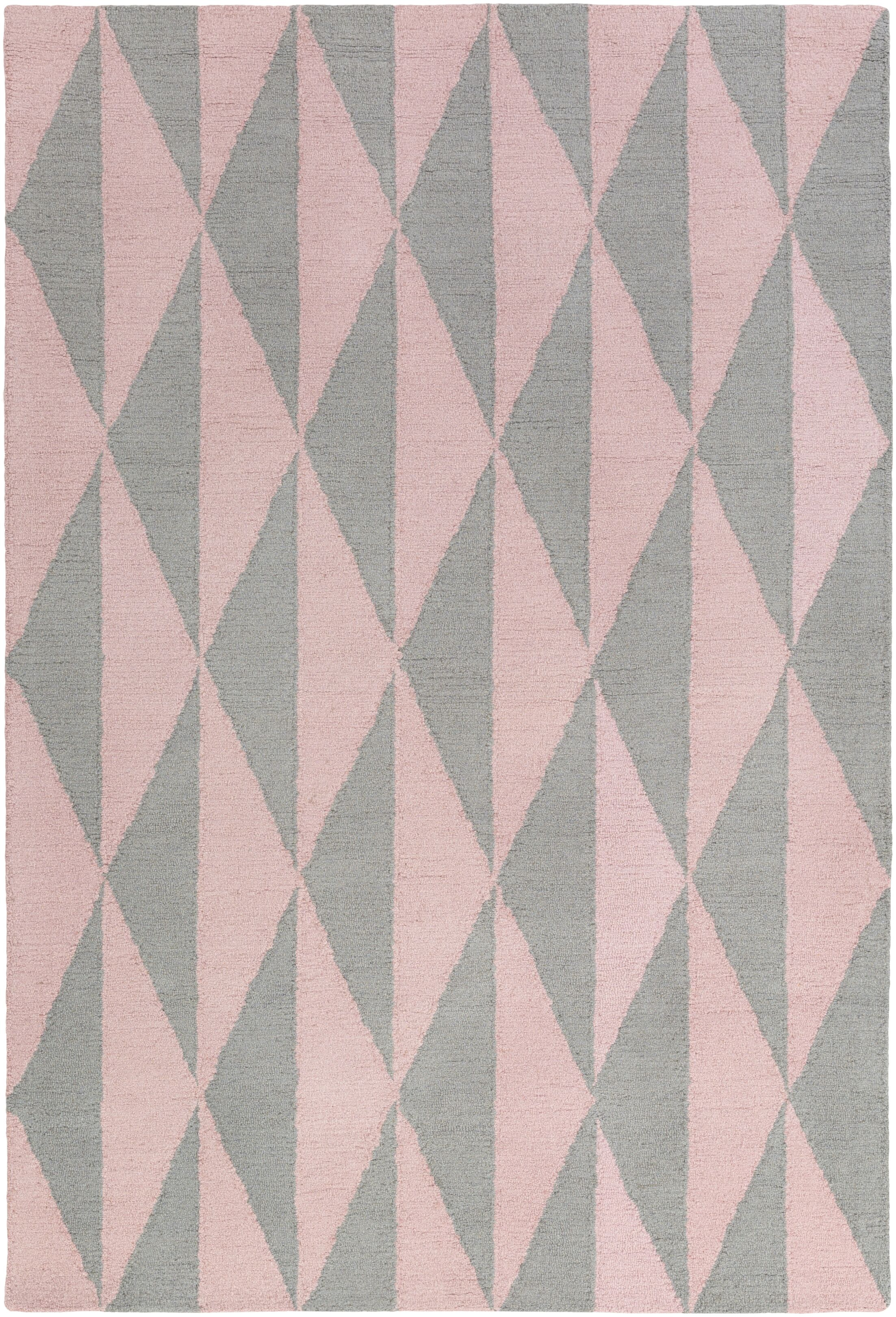Yowell Hand-Crafted Gray/Light Pink Area Rug Rug Size: Rectangle 8' x 11'