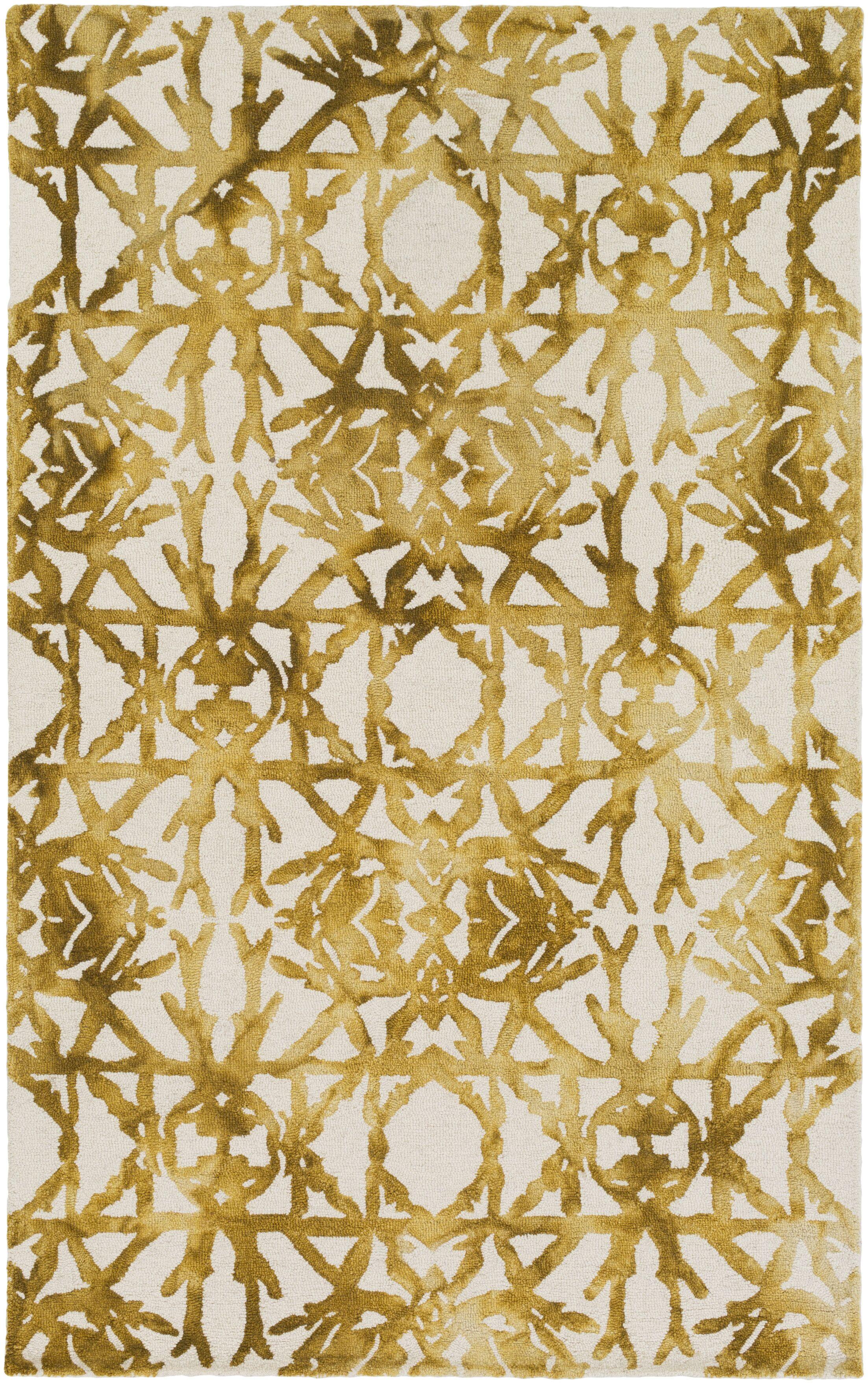 Glenmoor Hand-Tufted Yellow Area Rug Rug Size: Rectangle 5' x 8'