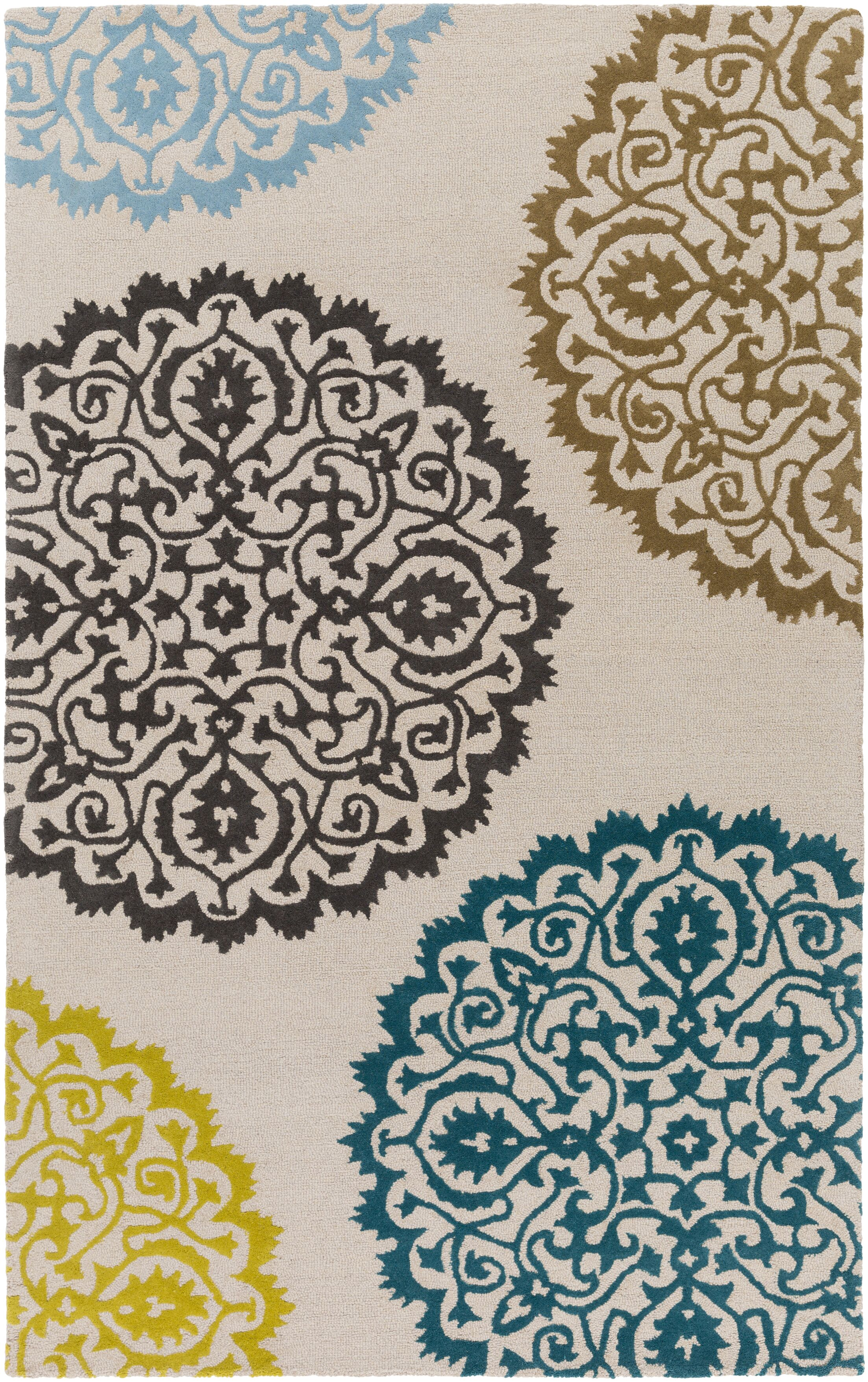 Couture Hand-Tufted Beige Area Rug Rug Size: Rectangle 4' x 6'