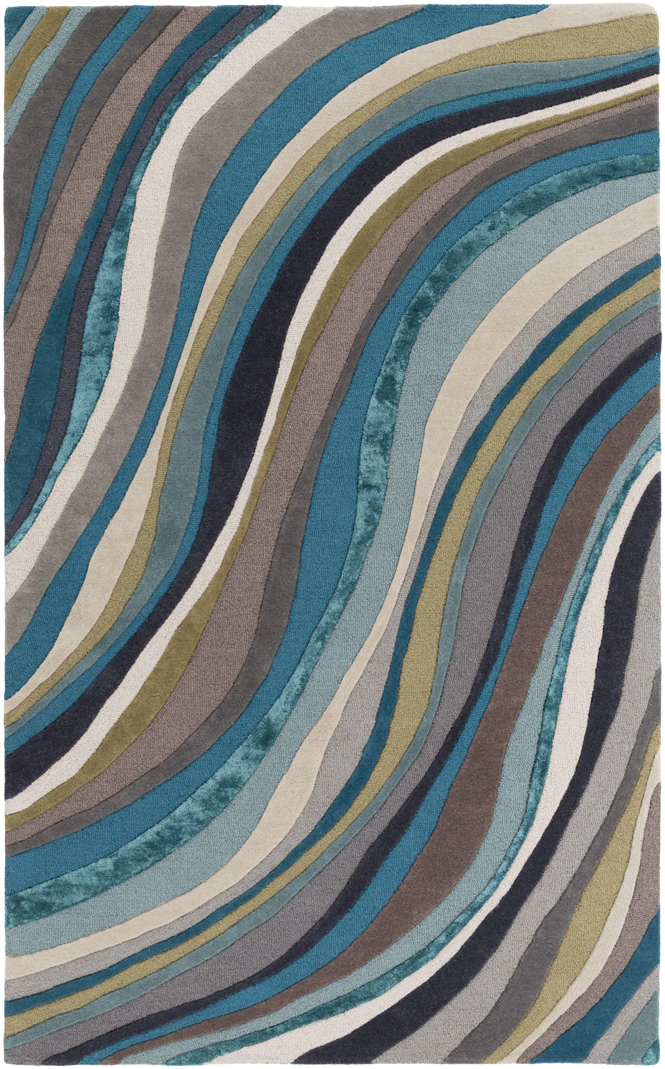 Pena Hand-Tufted Aqua Area Rug Rug Size: Rectangle 4' x 6'