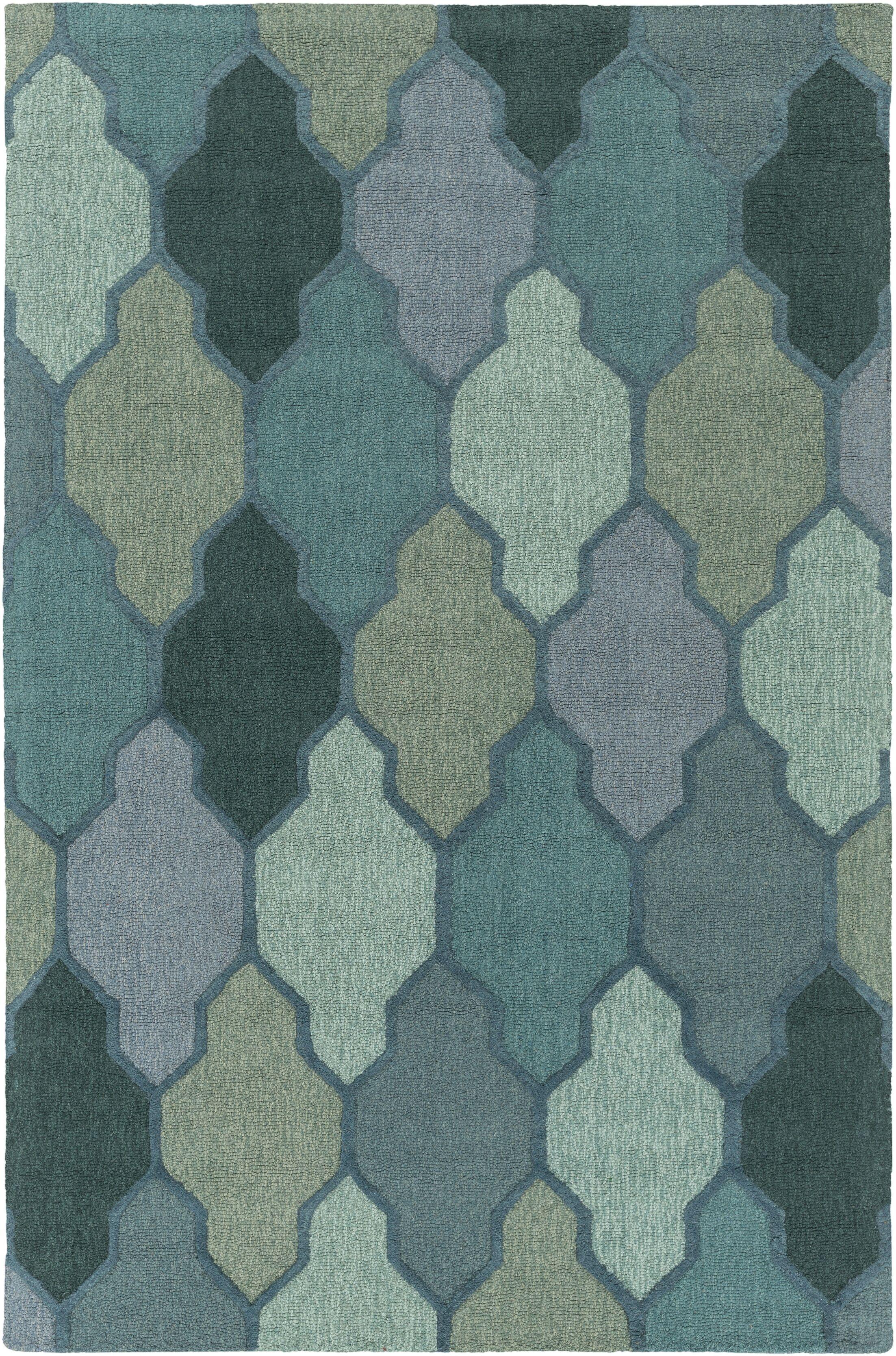 Galya Green Area Rug Rug Size: Rectangle 9' x 13'