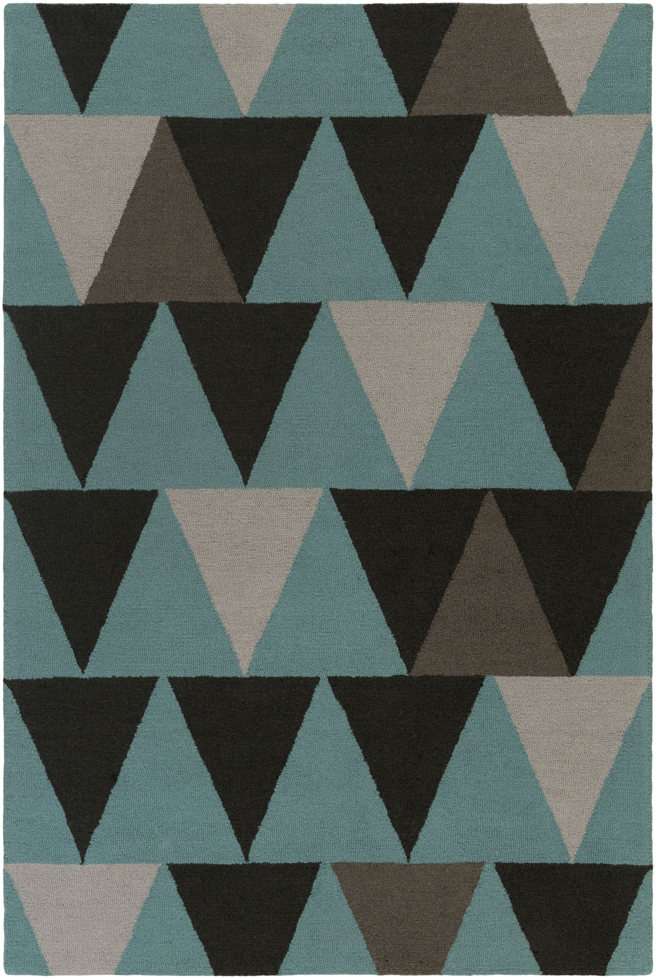 Younts Hand-Crafted Teal/Gray Area Rug Rug Size: Runner 2'3