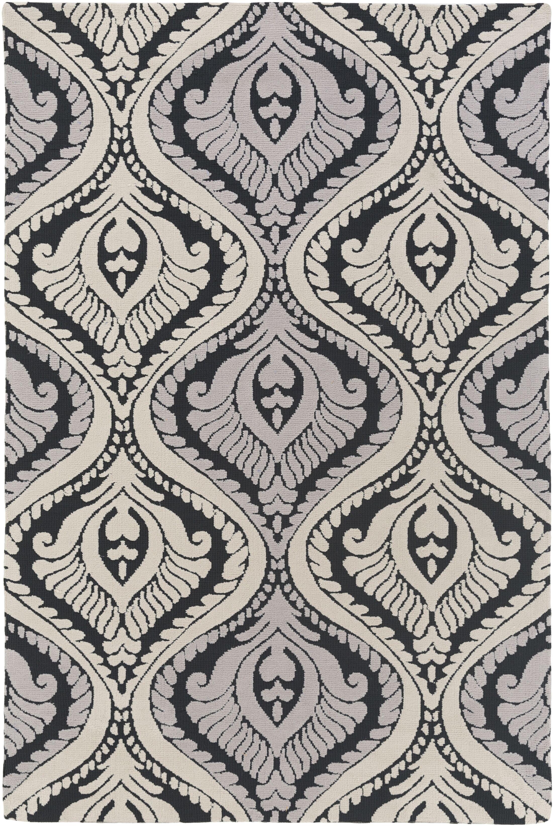Mangus Black/Ivory Area Rug Rug Size: Rectangle 5' x 7'6
