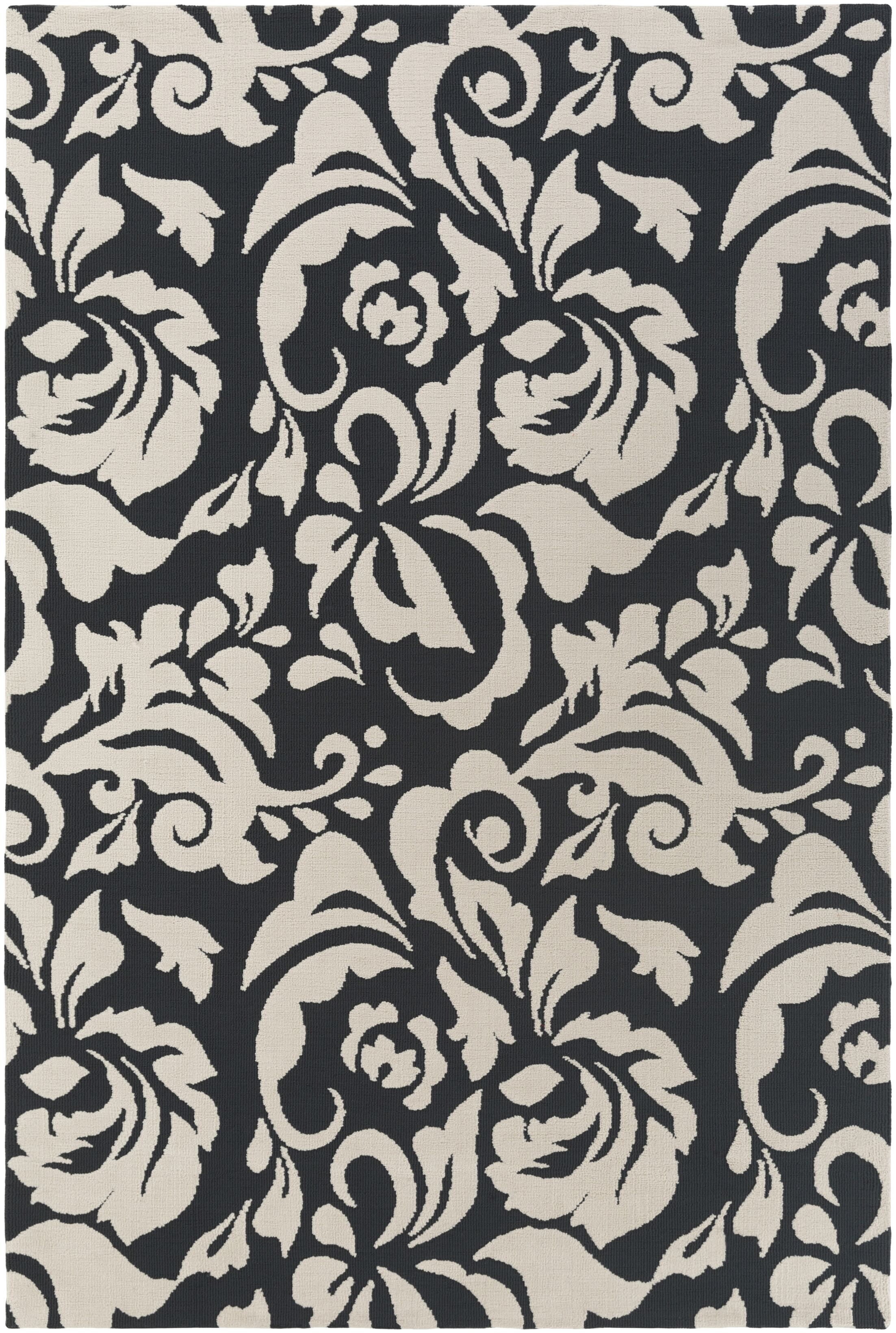 Ducote Black/Ivory Area Rug Rug Size: Rectangle 7'6