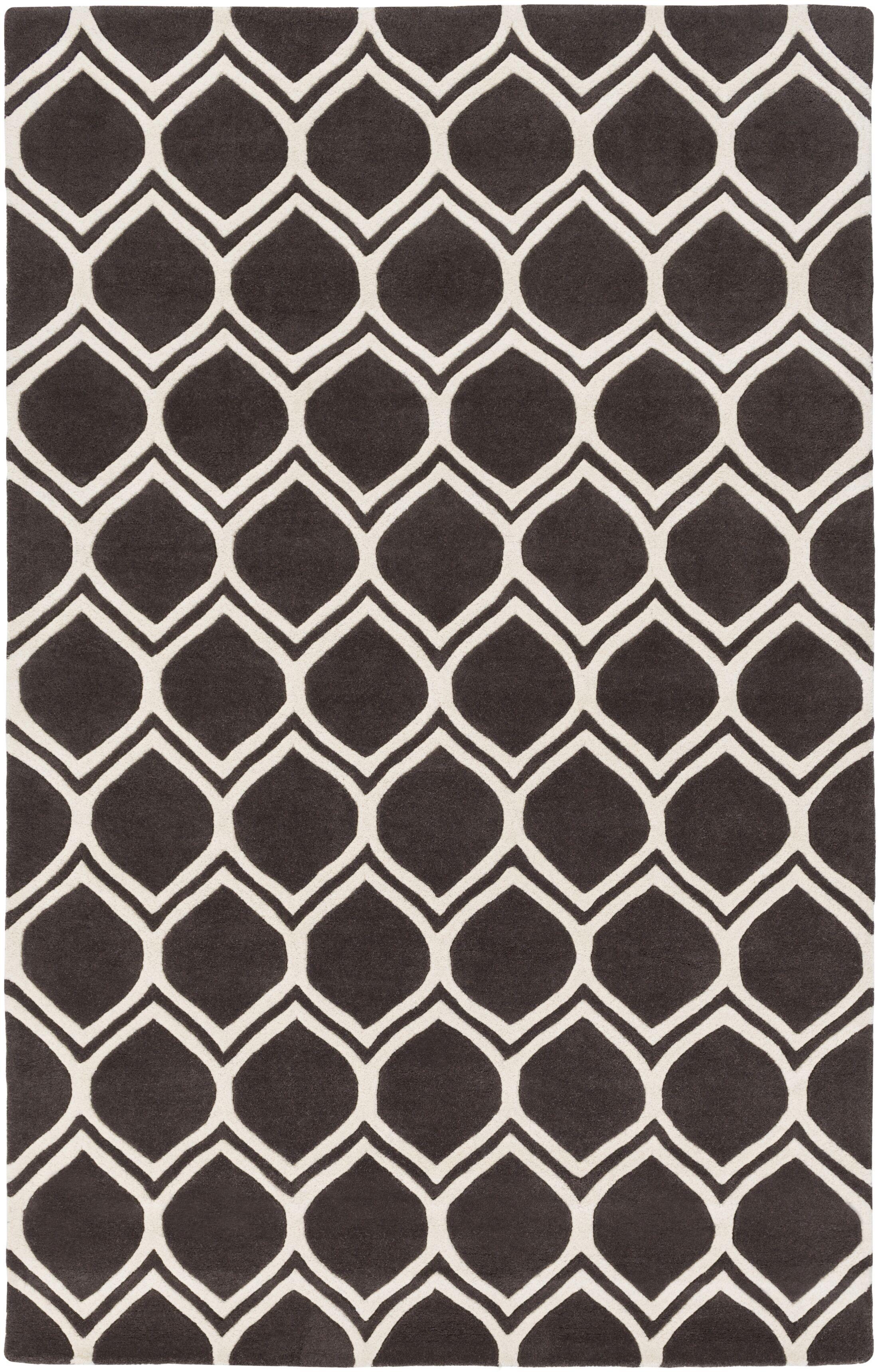 Zellner Hand-Tufted Black/Beige Area Rug Rug Size: Rectangle 4' x 6'