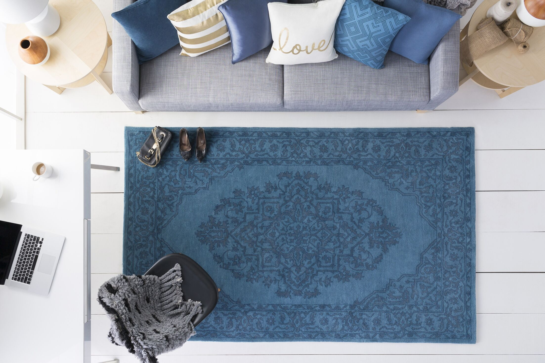 Farner Hand-Tufted Turquoise Area Rug Rug Size: Rectangle 5' x 8'