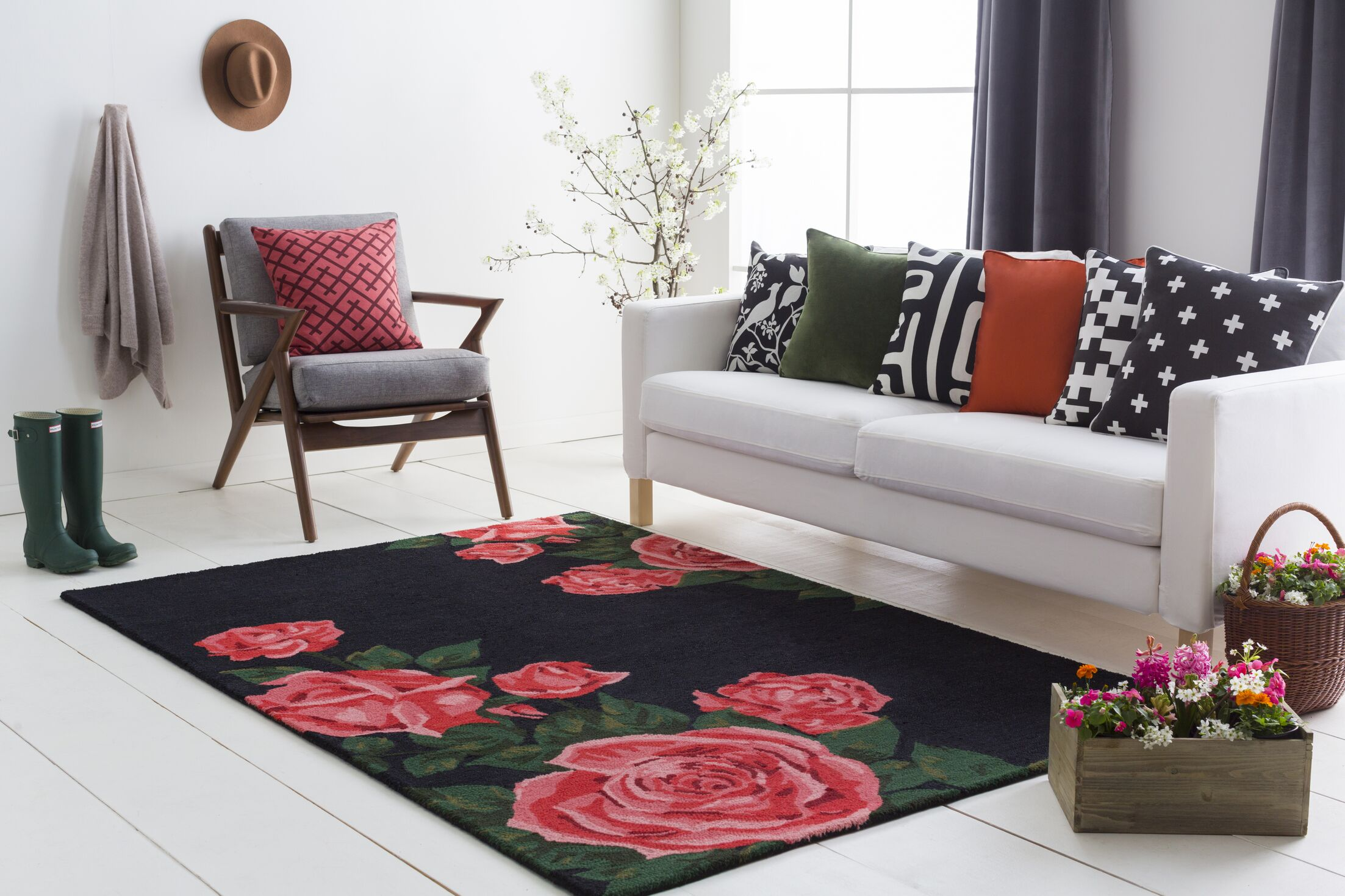Lacasse Hand-Tufted Red Area Rug Rug Size: Rectangle 8' x 10'
