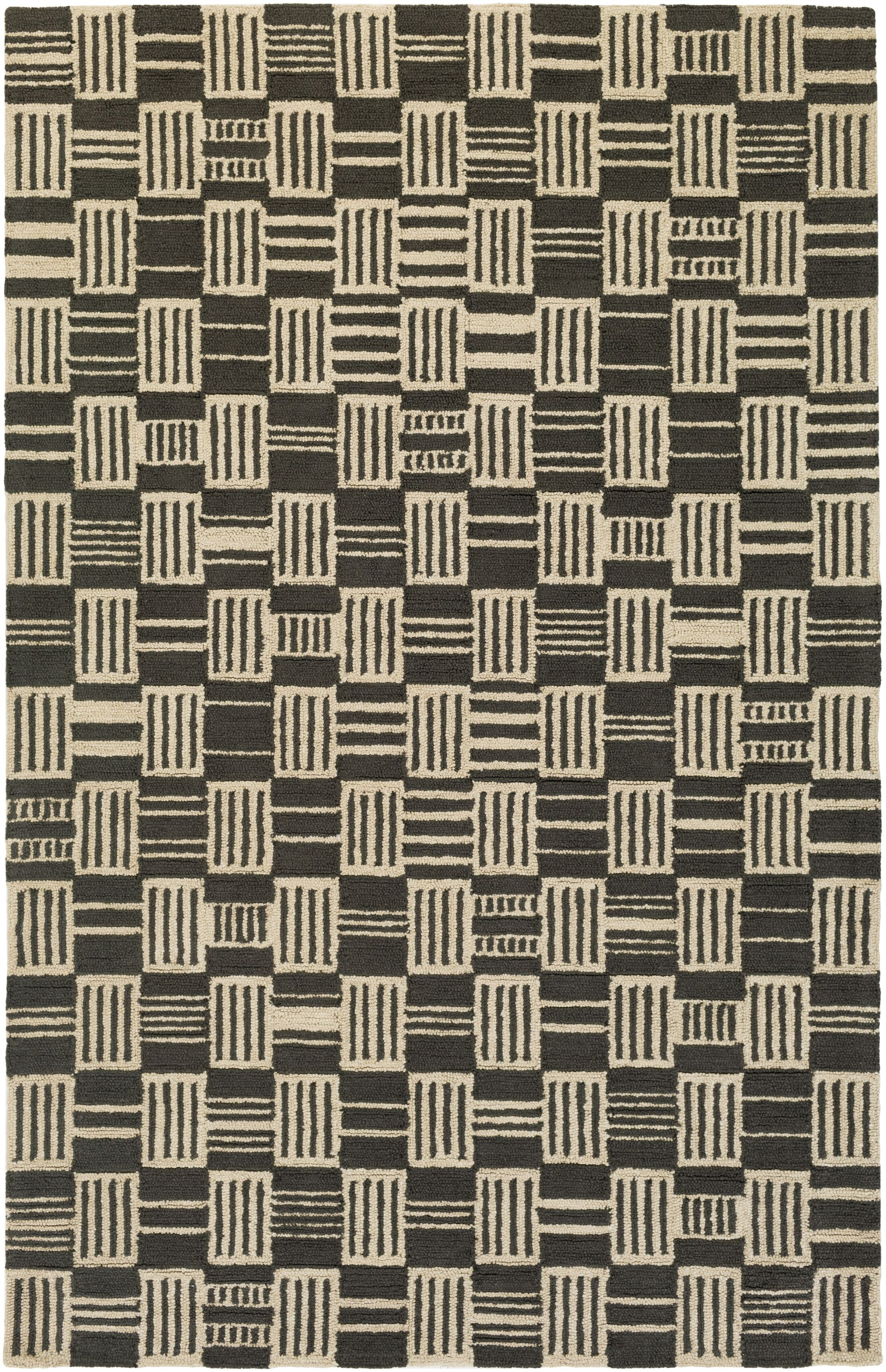 Judd Hand-Tufted Black/Beige Area Rug Rug Size: Rectangle 5' x 7'6