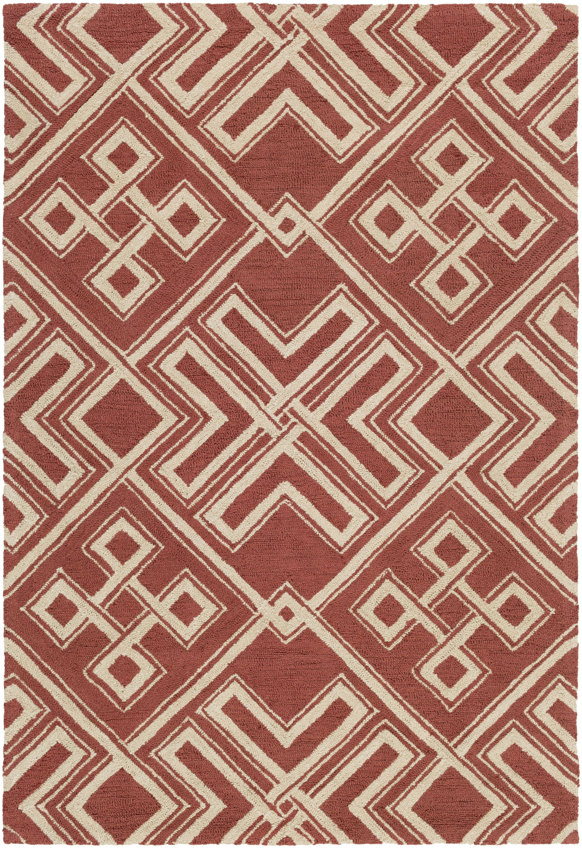 Joyal Hand-Tufted Red/Beige Area Rug Rug Size: Rectangle 5' x 7'6