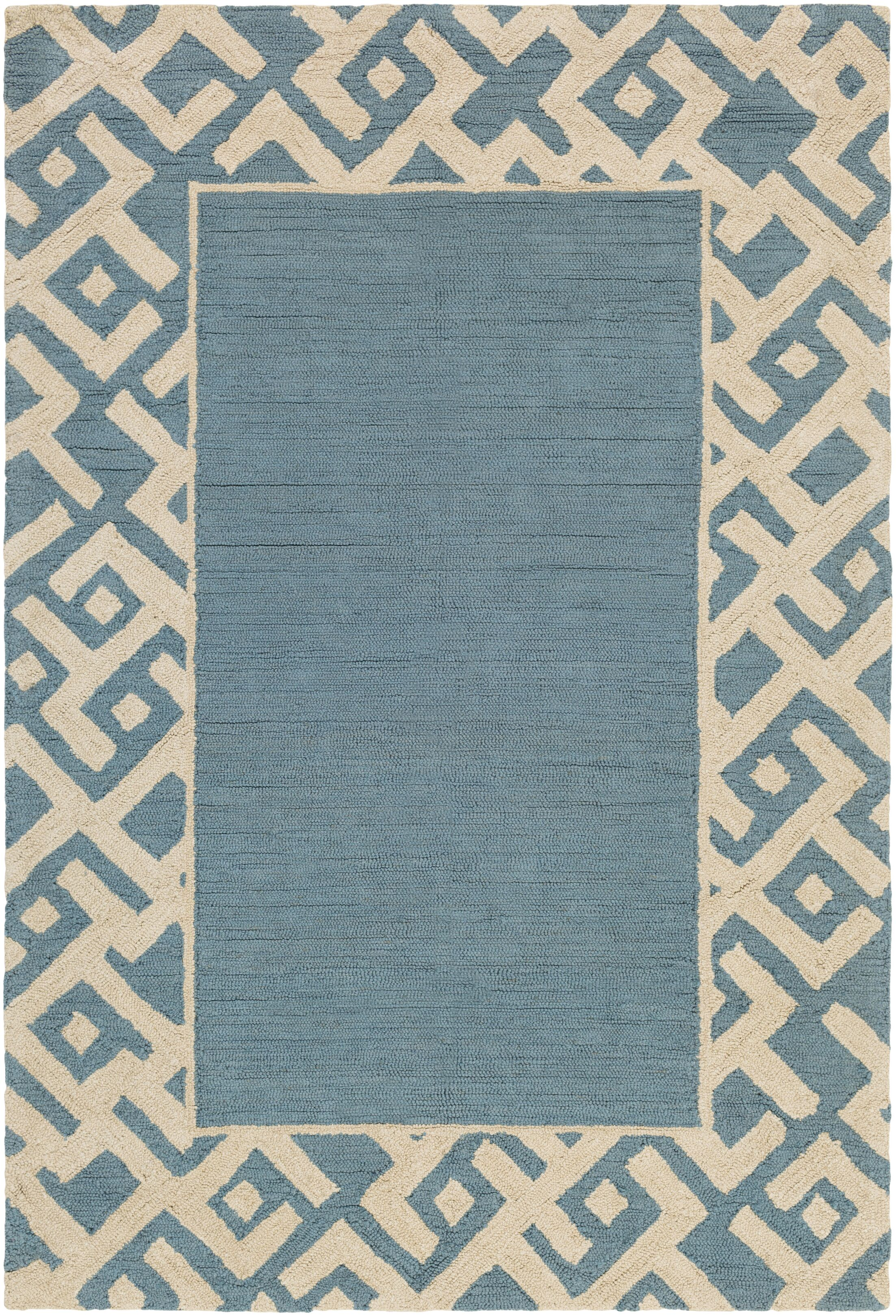 Judkins Hand-Tufted Light Blue/Beige Area Rug Rug Size: Rectangle 5' x 7'6