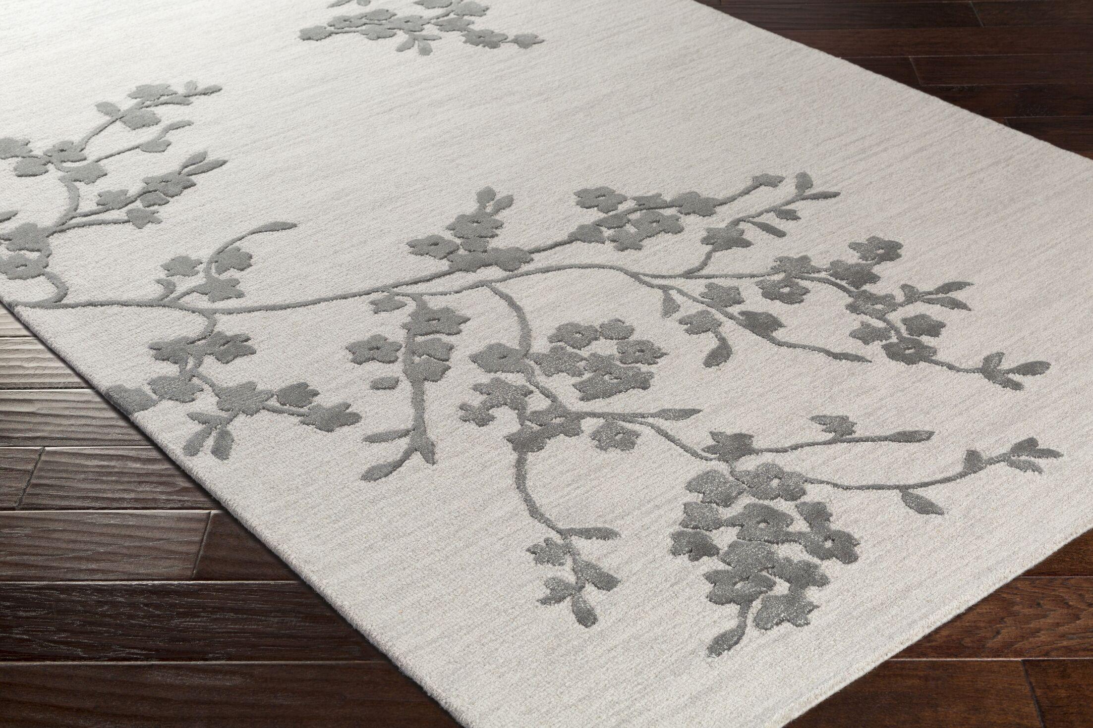 Kiely Hand-Tufted Light Gray/Charcoal Area Rug Rug Size: Rectangle 5' x 8'