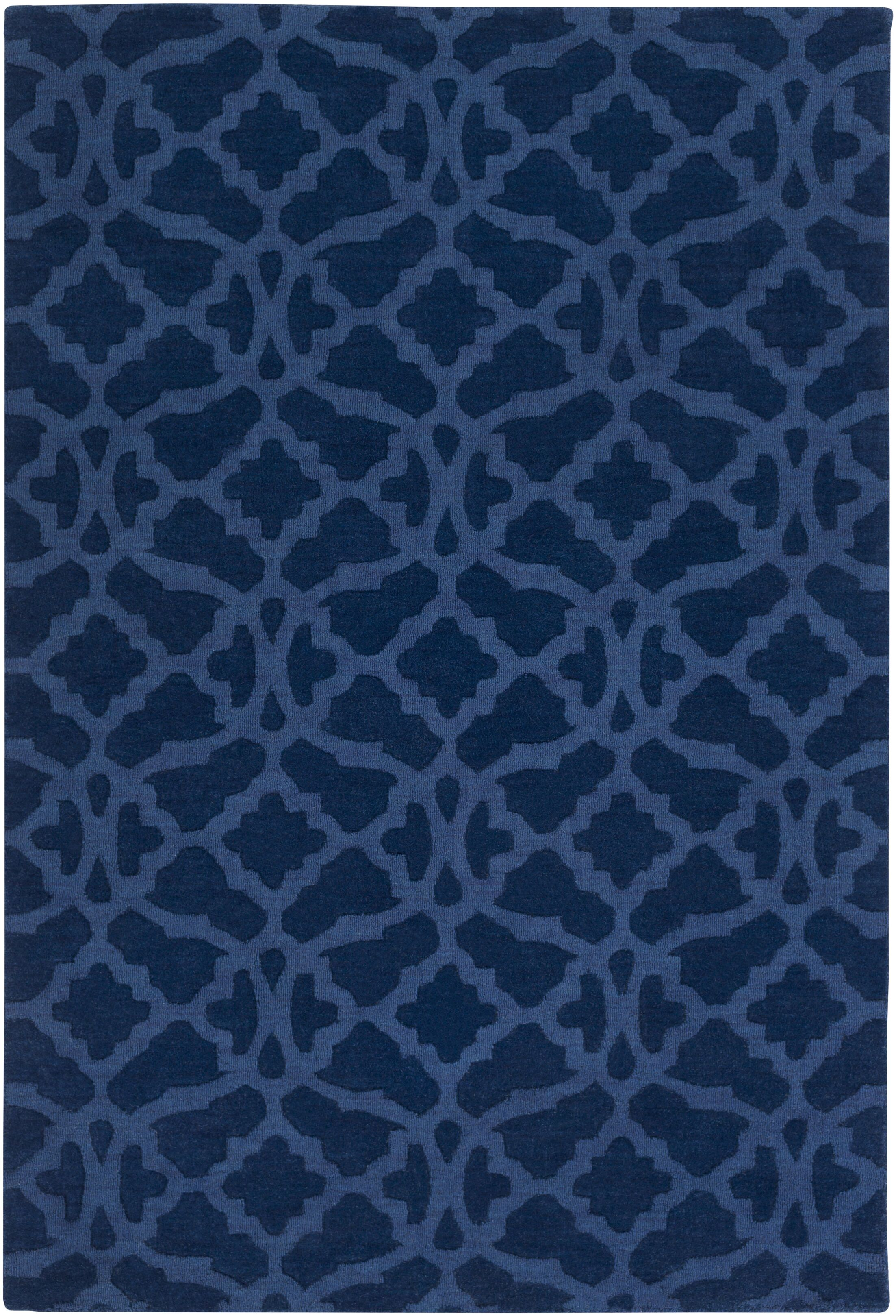 Hennings Handmade Navy Blue Area Rug Rug Size: Rectangle 4' x 6'