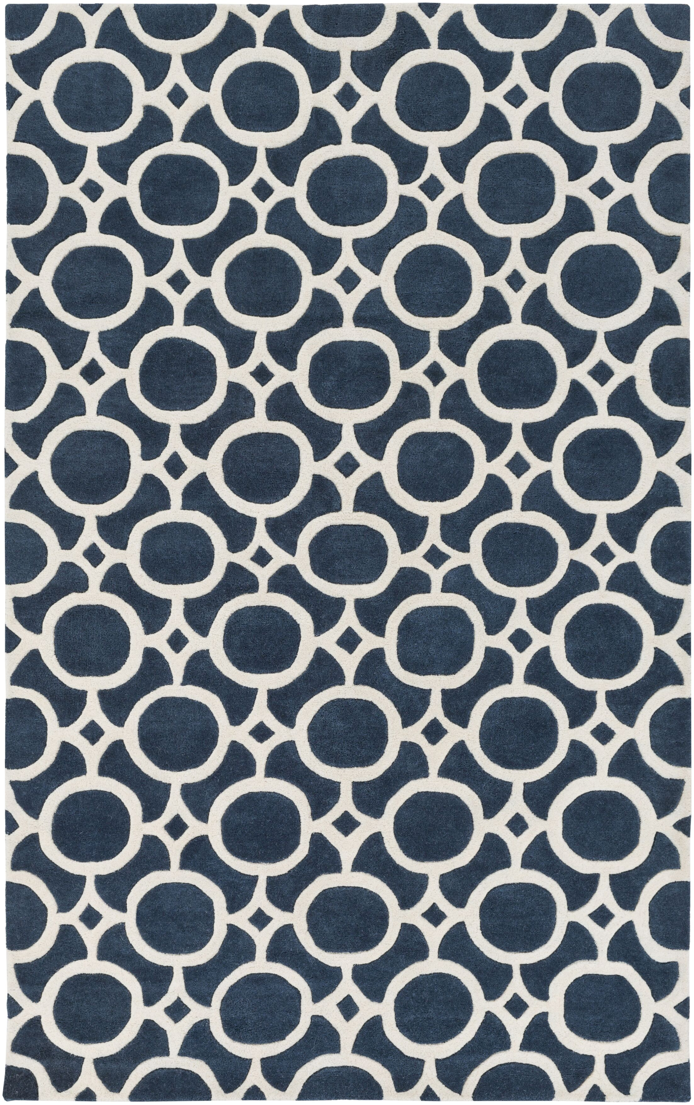 Murrow Hand-Tufted Royal Blue/Beige Area Rug Rug Size: Rectangle 4' x 6'