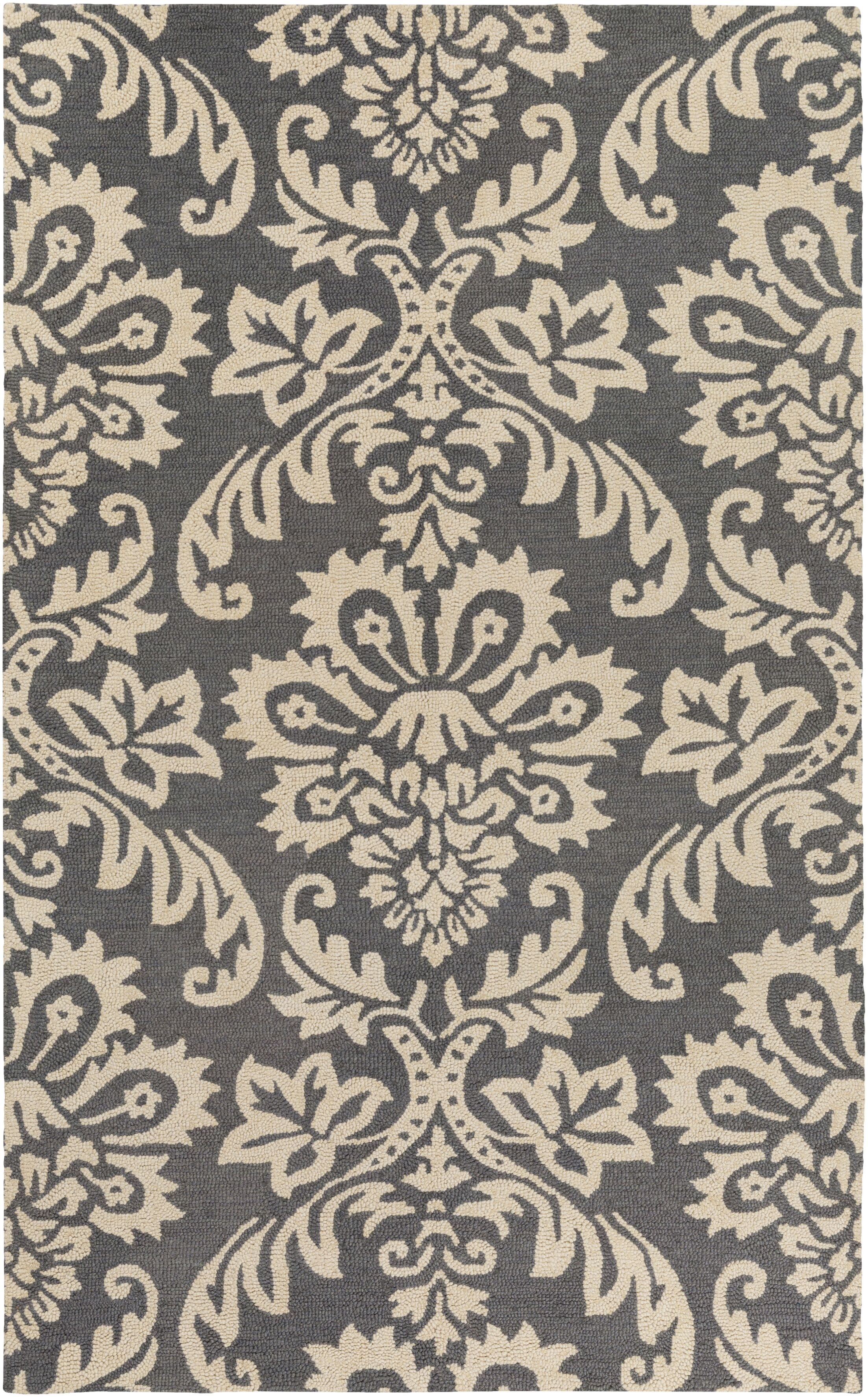 Kimberlin Hand-Tufted Dark Gray/Off-White Area Rug Rug Size: Rectangle 5' x 8'