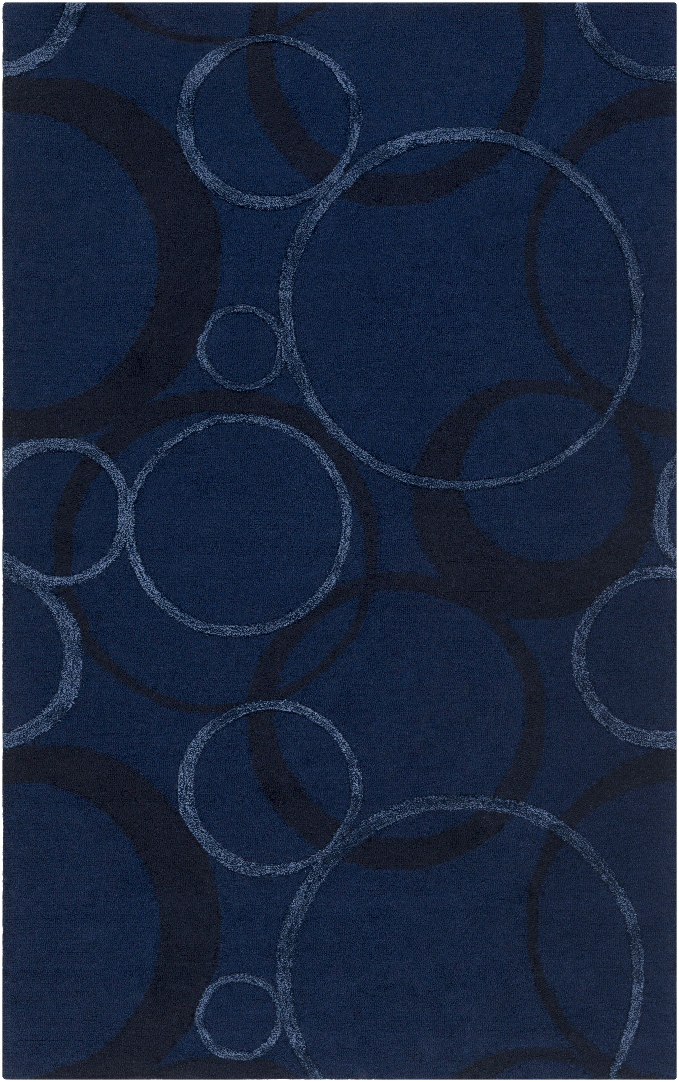 Moyes Hand-Tufted Navy Area Rug Rug Size: Rectangle 9' x 13'