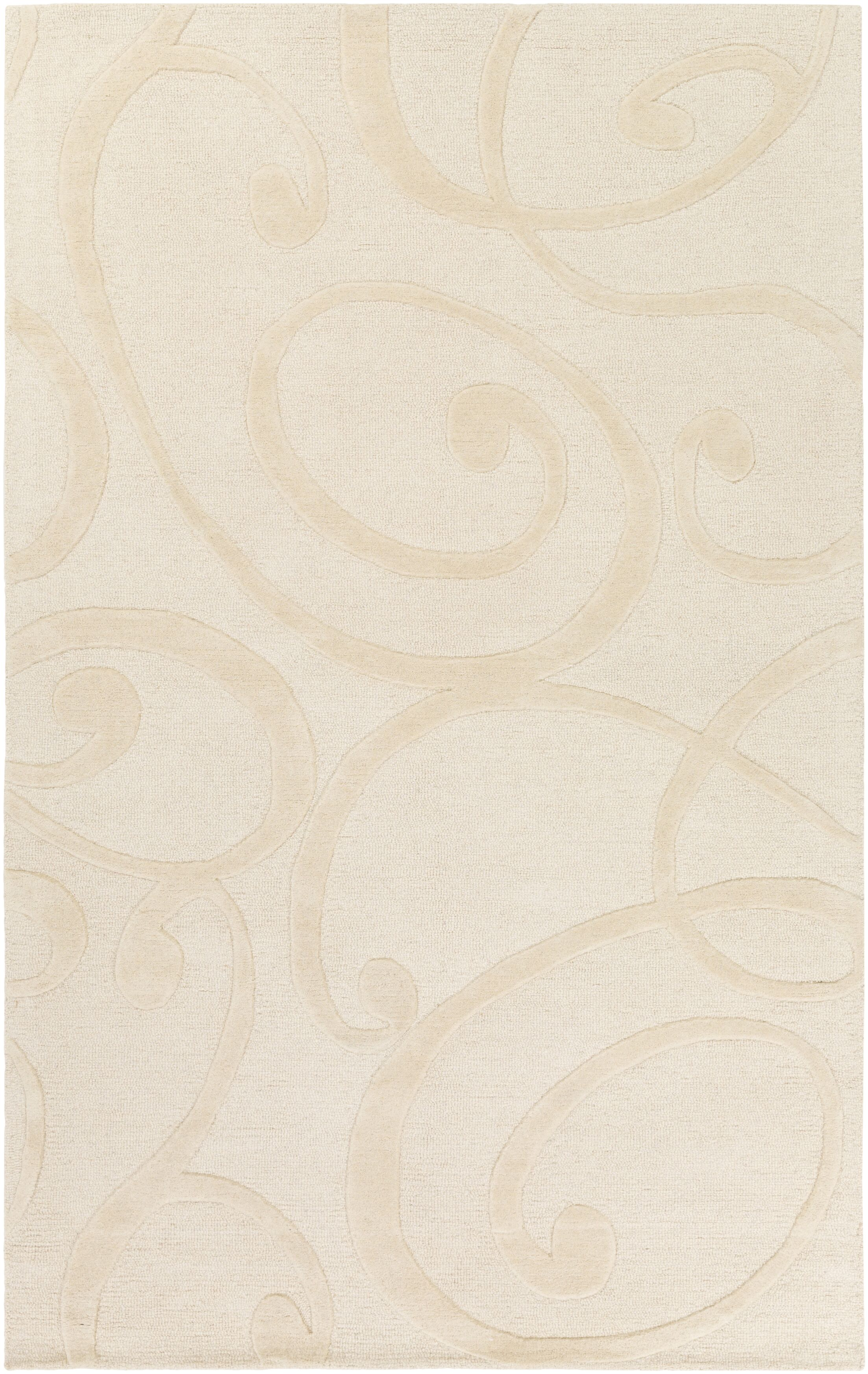 Allegro Hand-Tufted Cream Area Rug Rug Size: Rectangle 4' x 6'