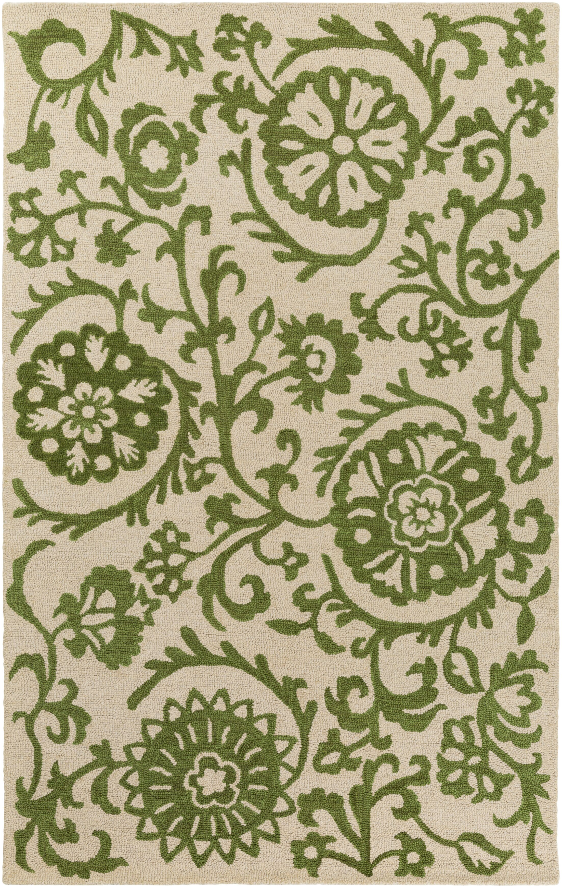 Aylor Hand-Tufted Green/Off-White Area Rug Rug Size: Rectangle 9' x 13'