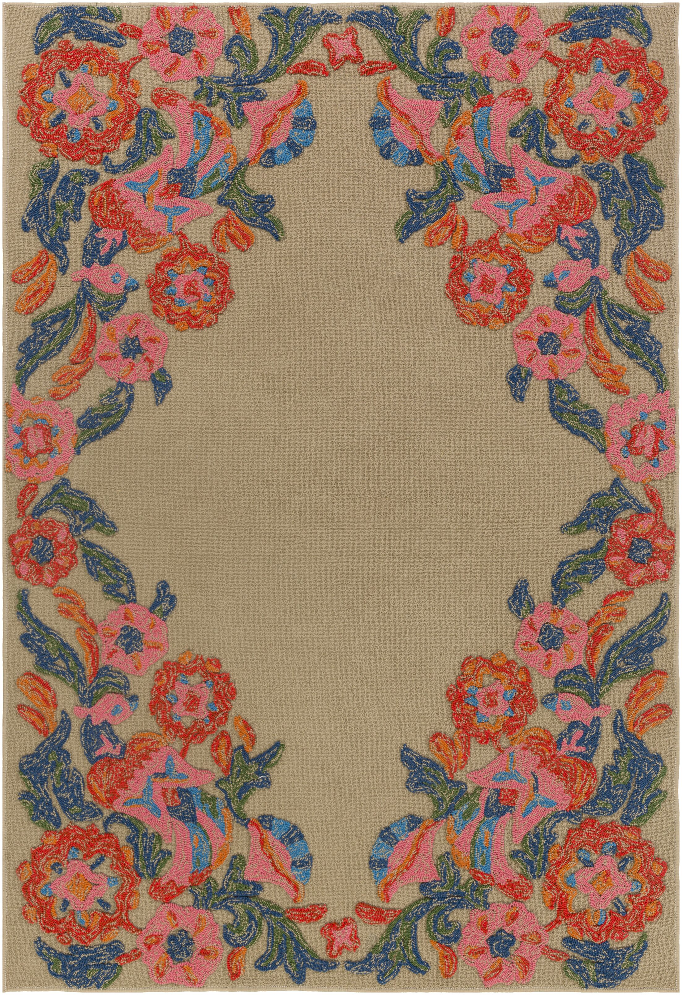 Dimaggio Hand-Tufted Carnation Pink/Navy Blue Indoor/Outdoor Area Rug Rug Size: Rectangle 4' x 6'