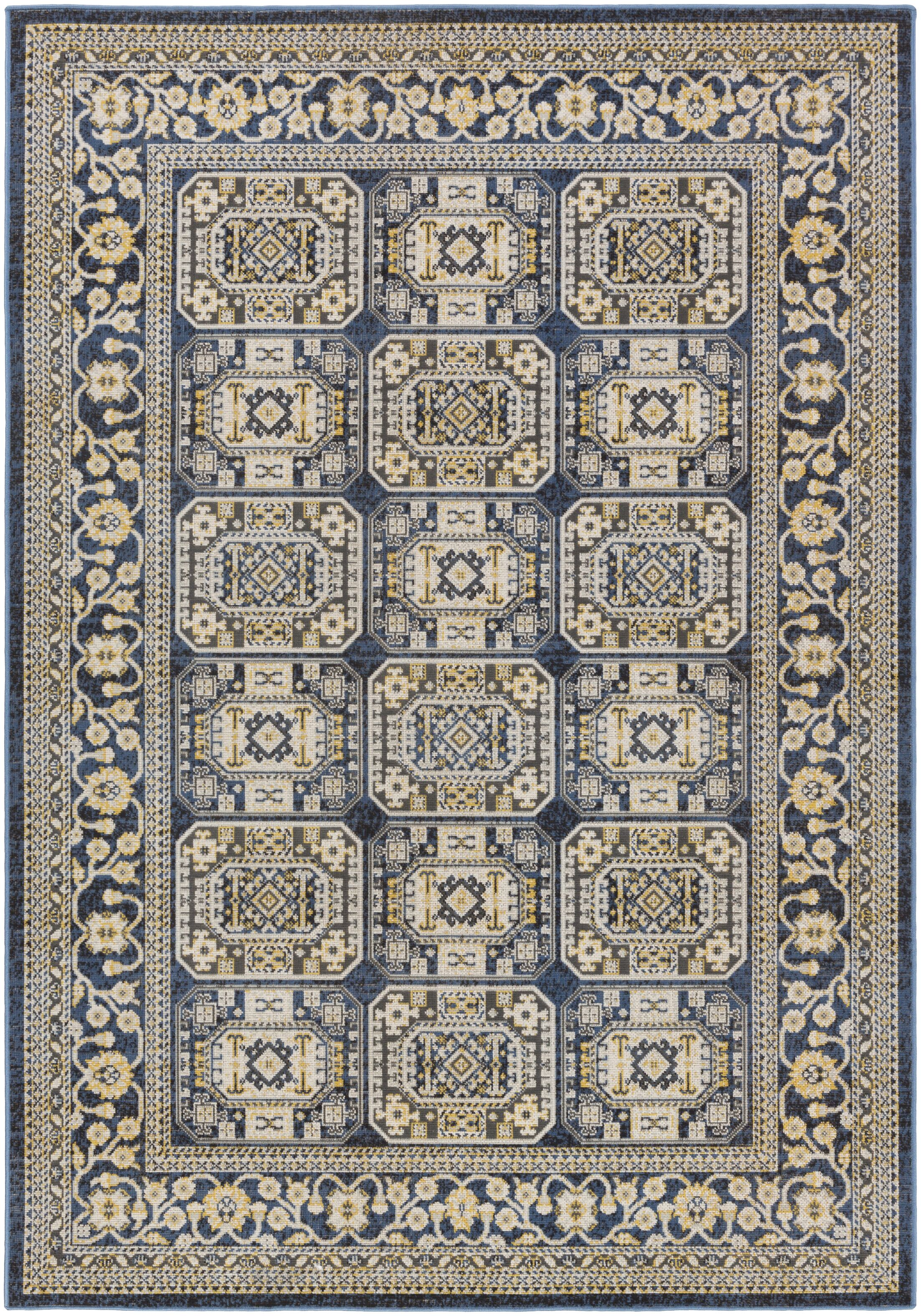 Keeton Navy Blue/Light Yellow Area Rug Rug Size: Rectangle 7'10