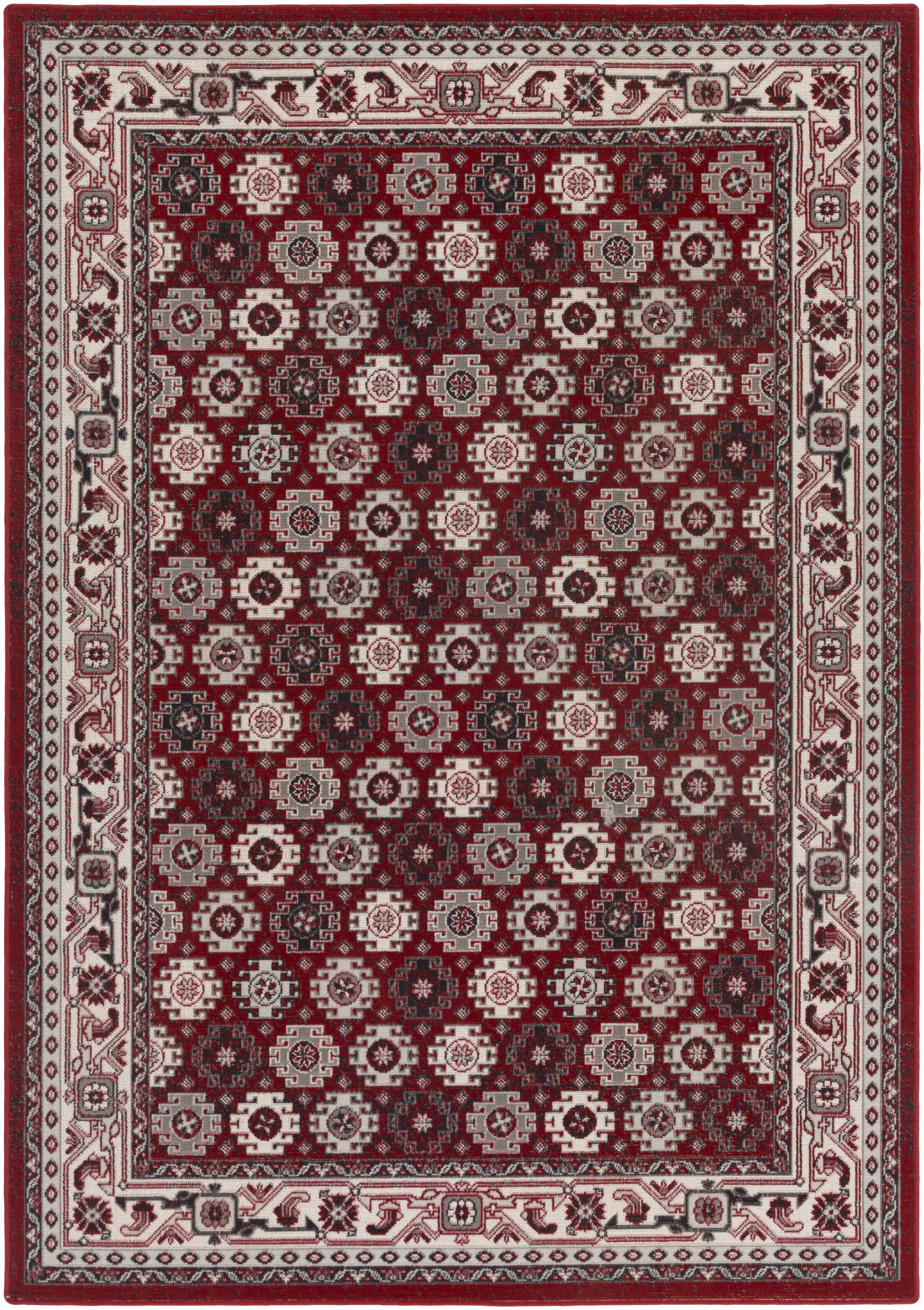 Bernhard Crimson Red / Ivory Area Rug Rug Size: Rectangle 5'3