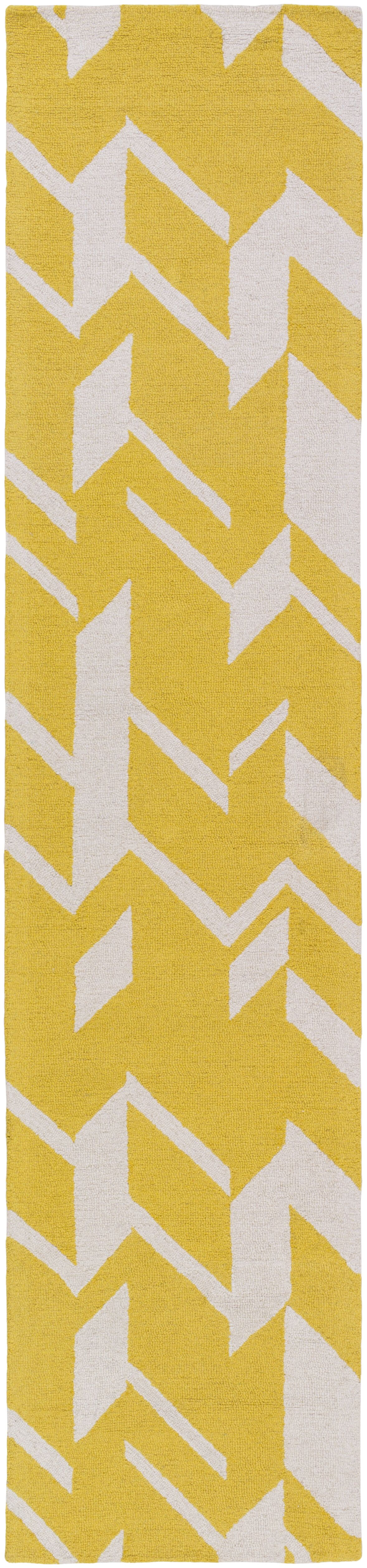 Youmans Hand-Crafted Yellow/White Area Rug Rug Size: Rectangle 8' x 11'