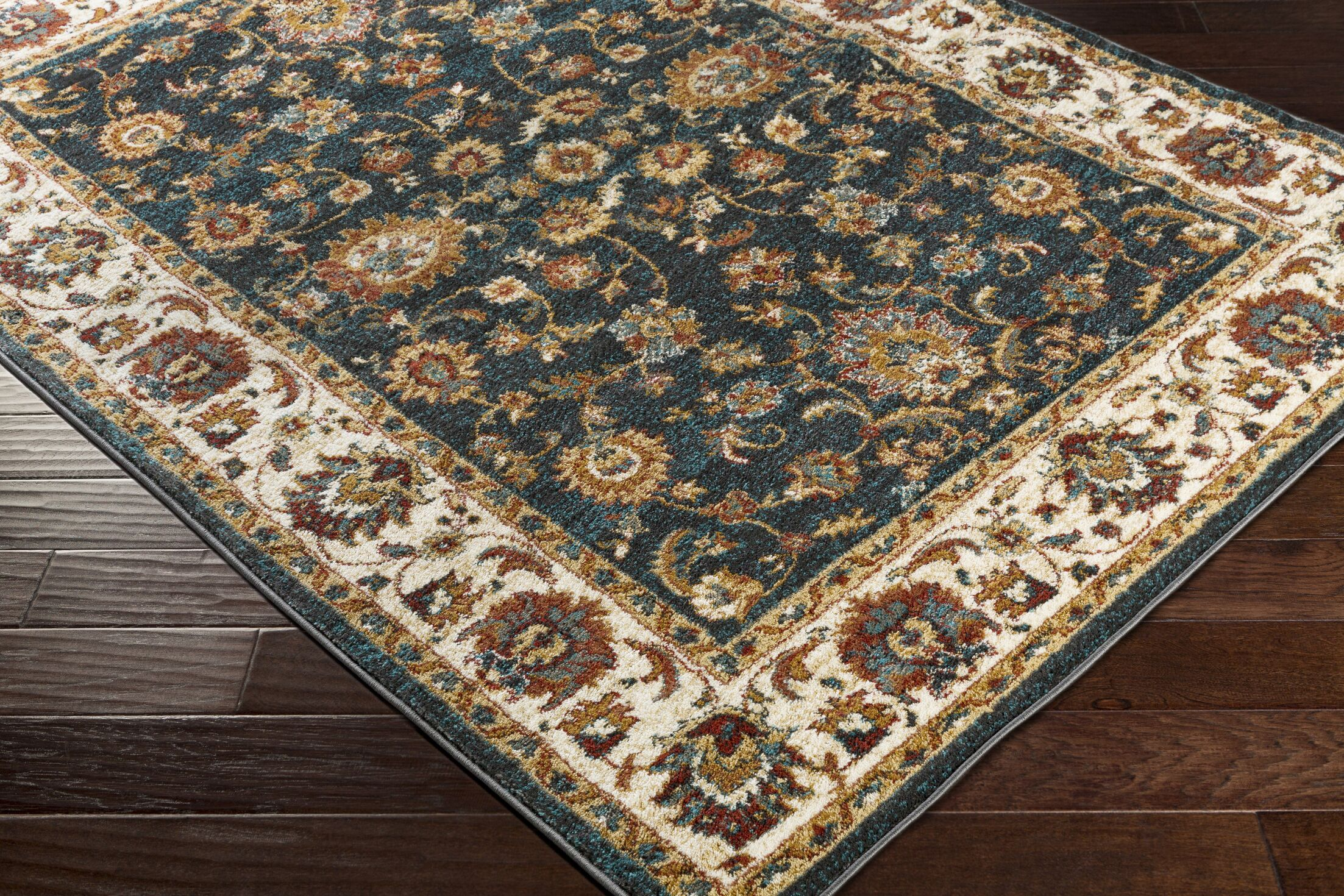 Eady Charcoal/Teal Area Rug Rug Size: Rectangle 5'3