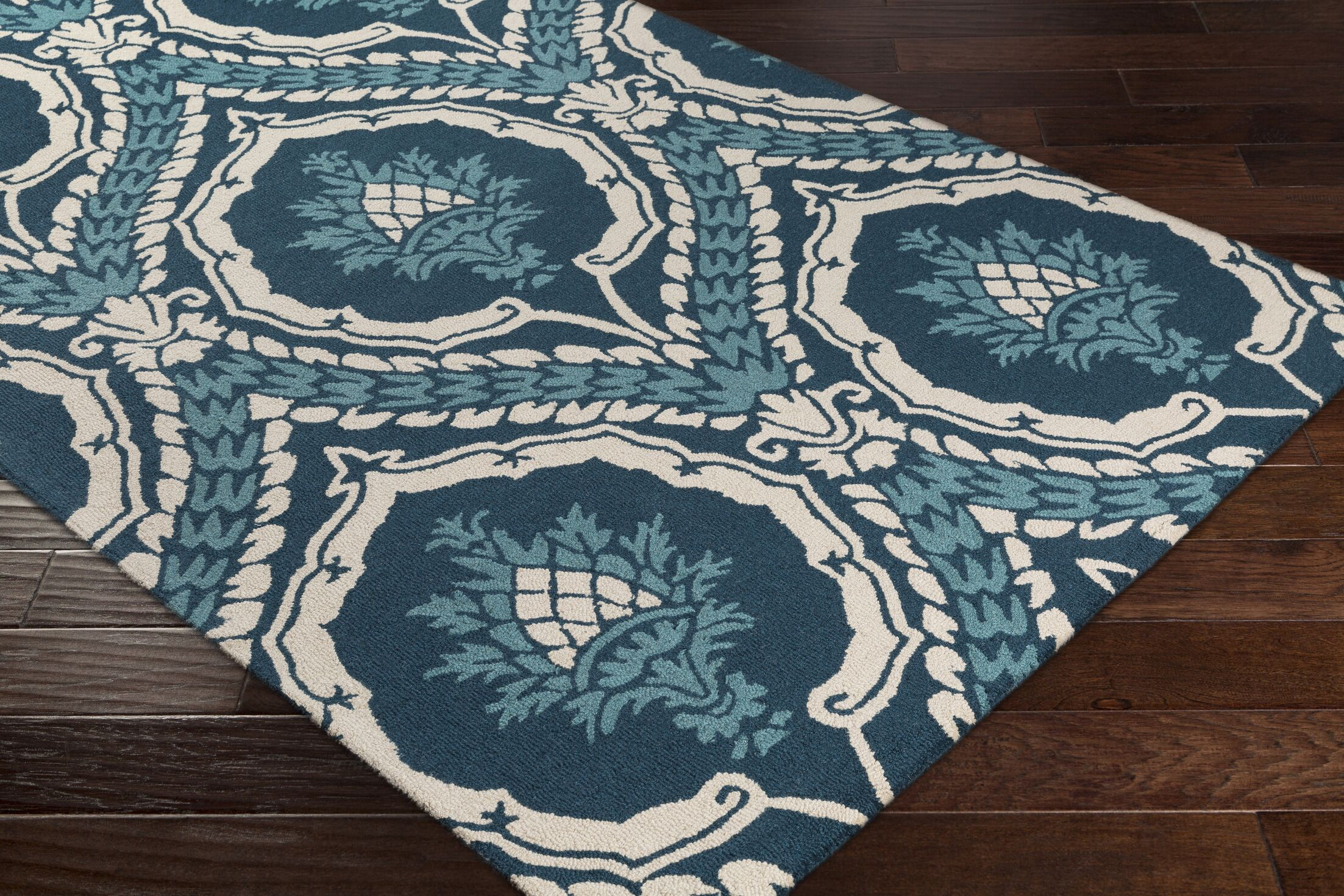 Ebersole Hand-Tufted Teal/Ivory Area Rug Rug Size: Rectangle 5' x 7'6