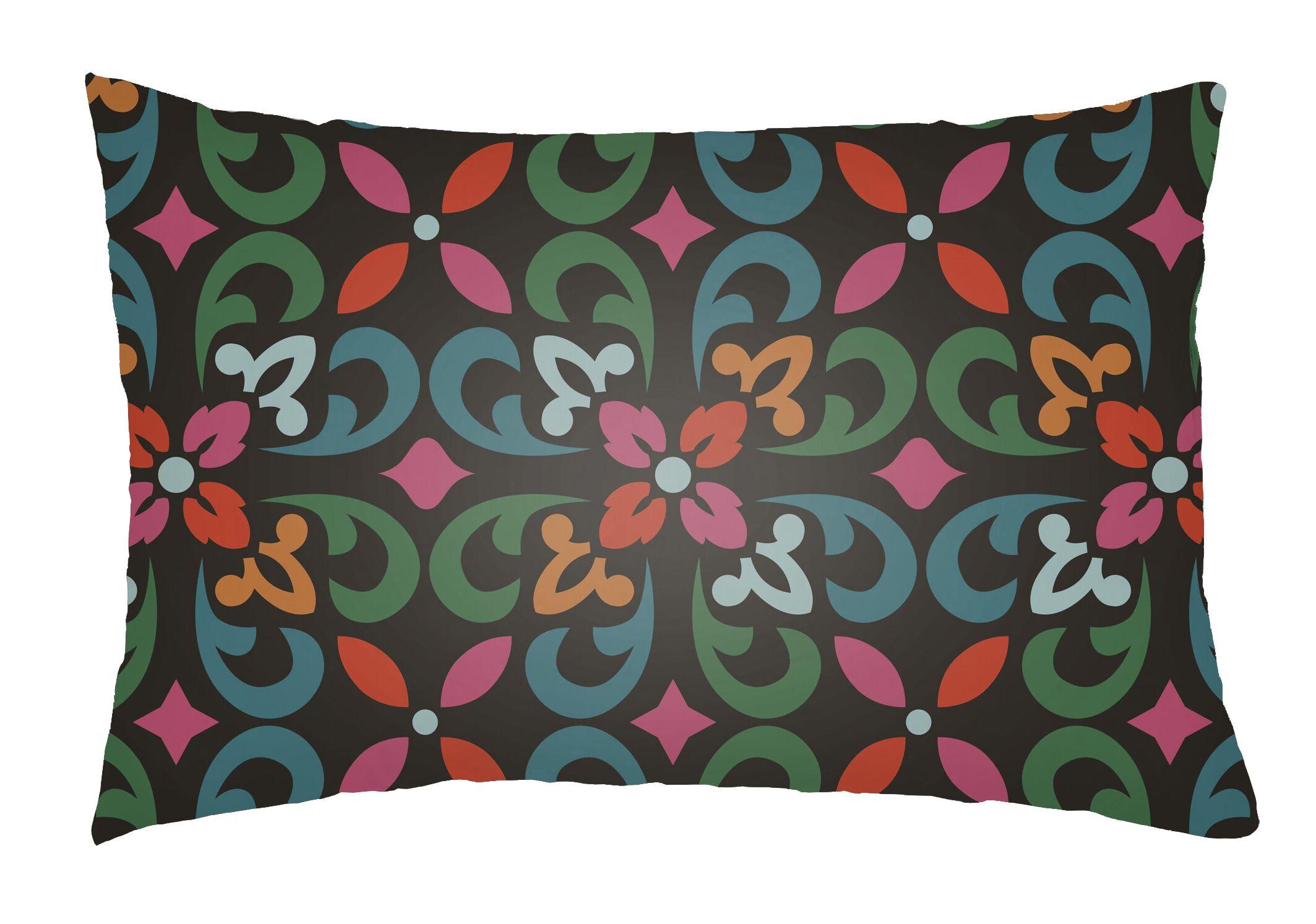 Dillion Indoor/Outdoor Lumbar Pillow Color: Teal/Kelly Green/Black