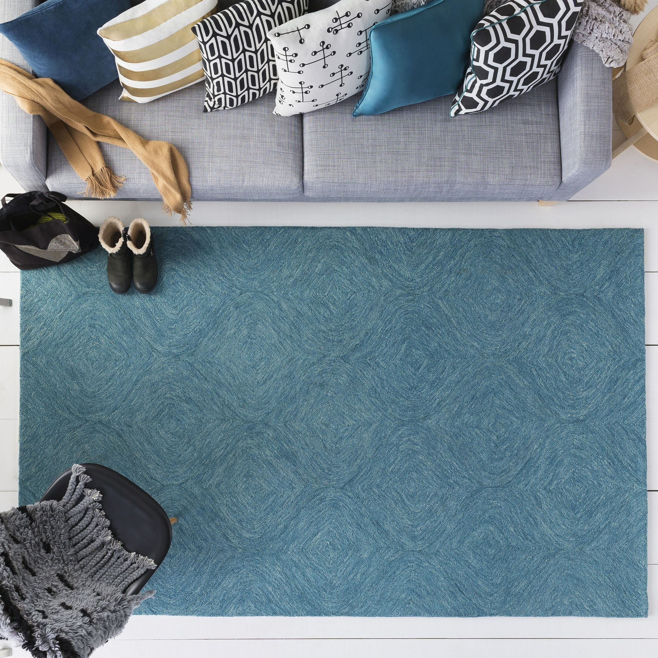 Bloch Hand-Tufted Turquoise Area Rug Rug Size: Rectangle 9' x 13'