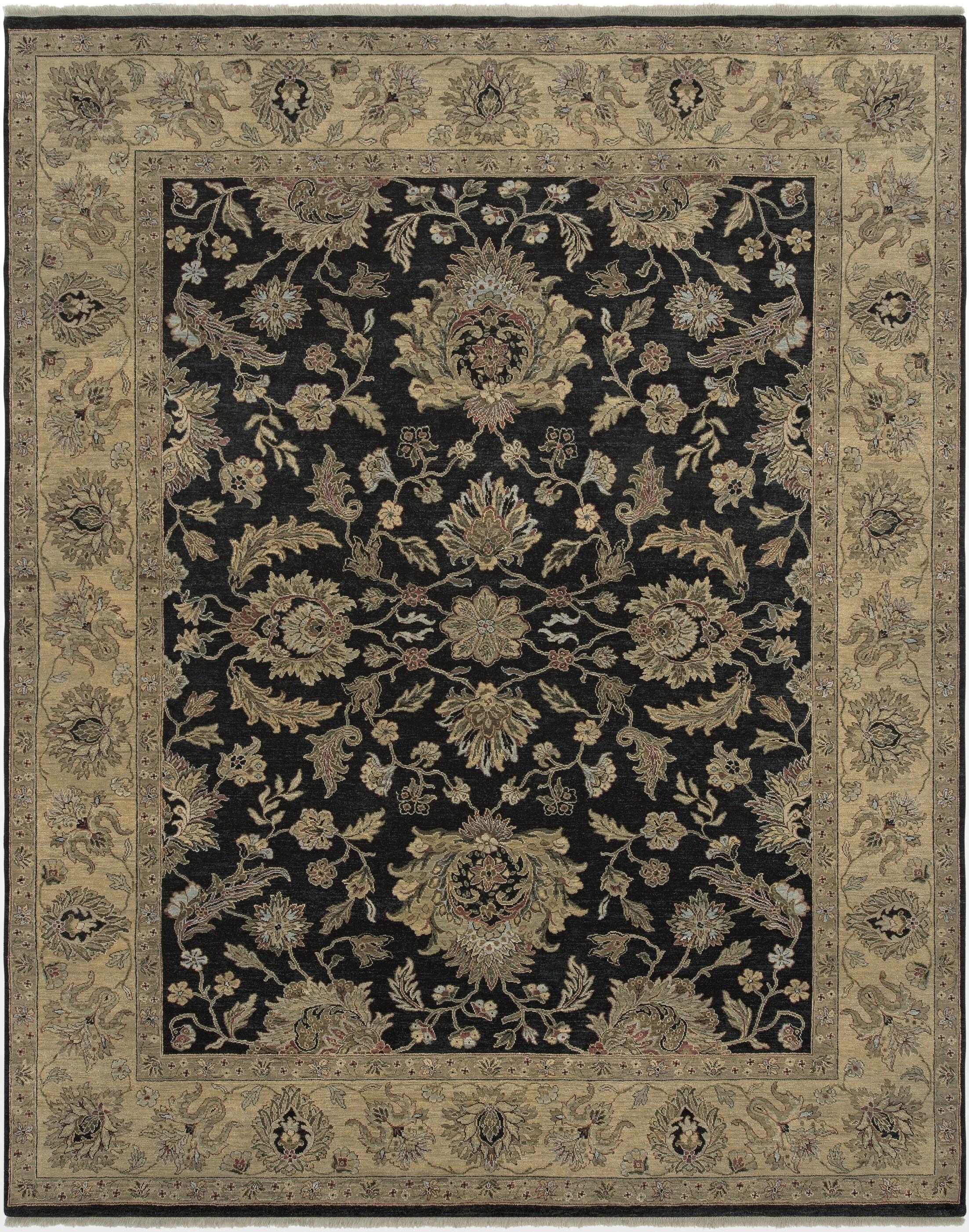 Lidiaídia Ebony/Gold Area Rug Rug Size: 10' x 14'